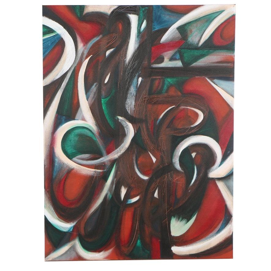 "Javiera Geer Acrylic Painting ""La Luna Camina (The Moon Walks)"""