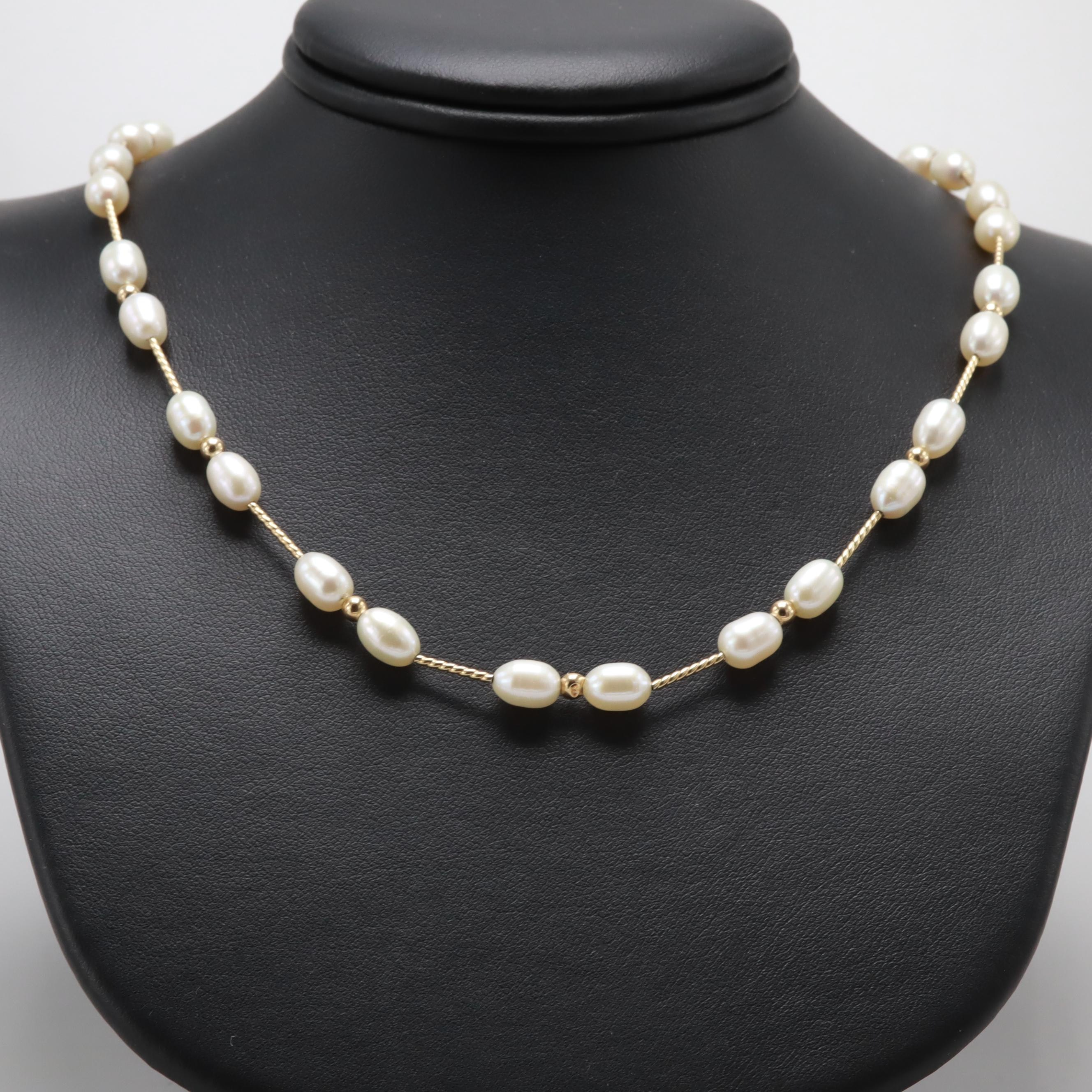 14K Yellow Gold Cultured Pearl and Gold Bead Necklace