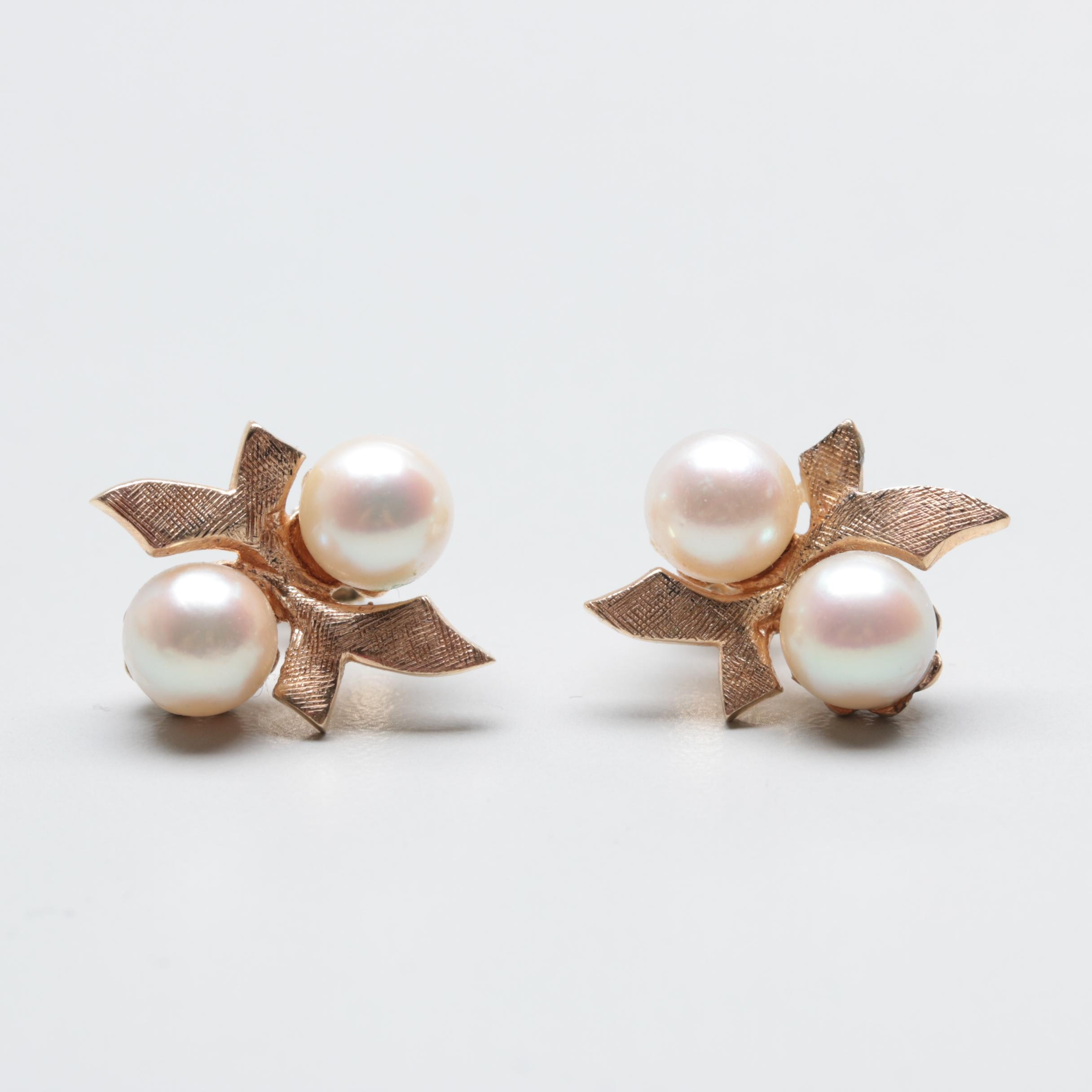 14 Yellow Gold Cultured Pearl Earrings