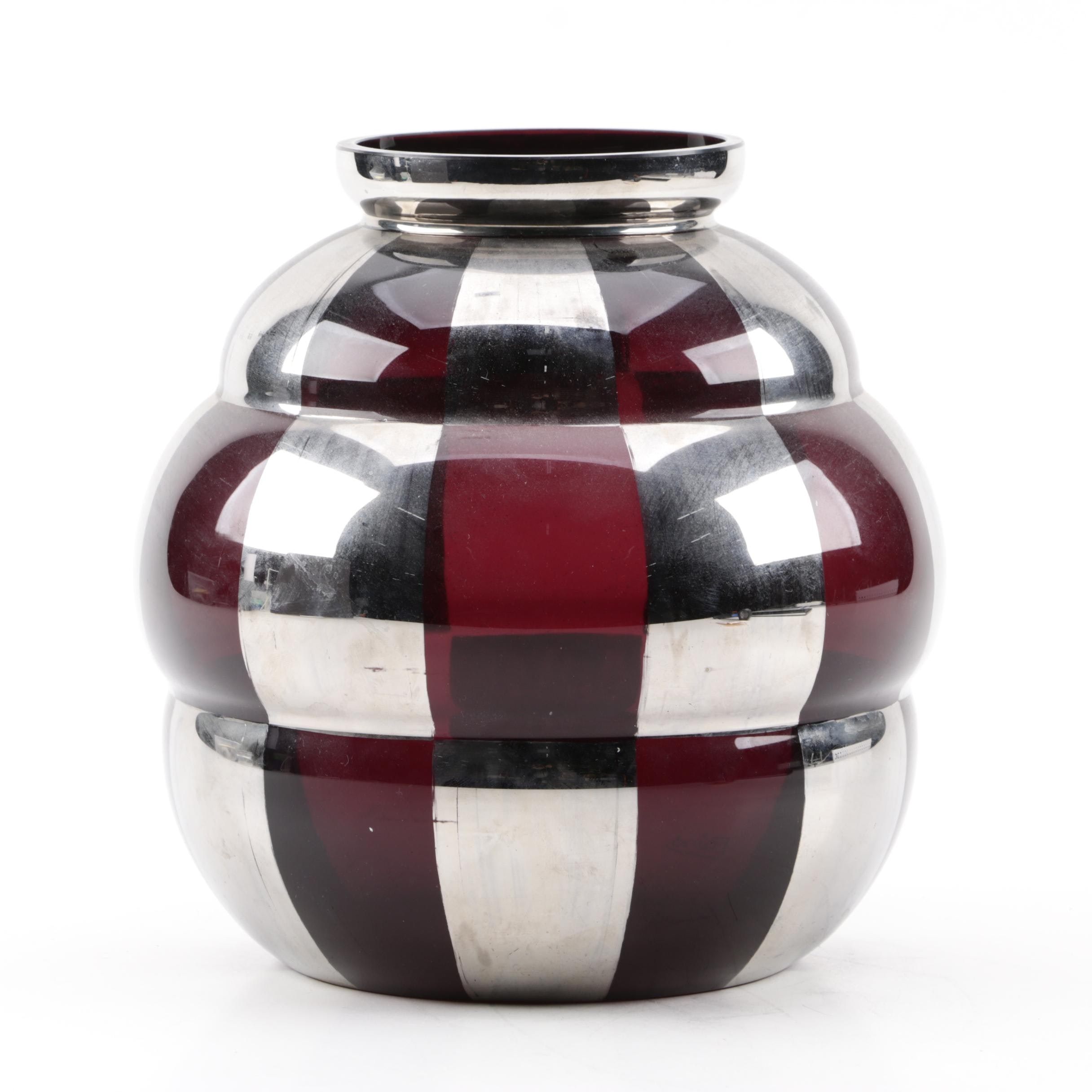 French Art Deco Silver and Amethyst Glass Vase, 1930s