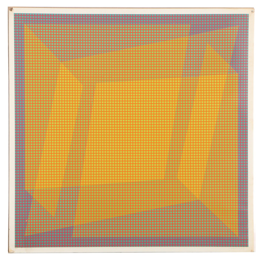 "Julian Stanczak Serigraph ""Folded"""
