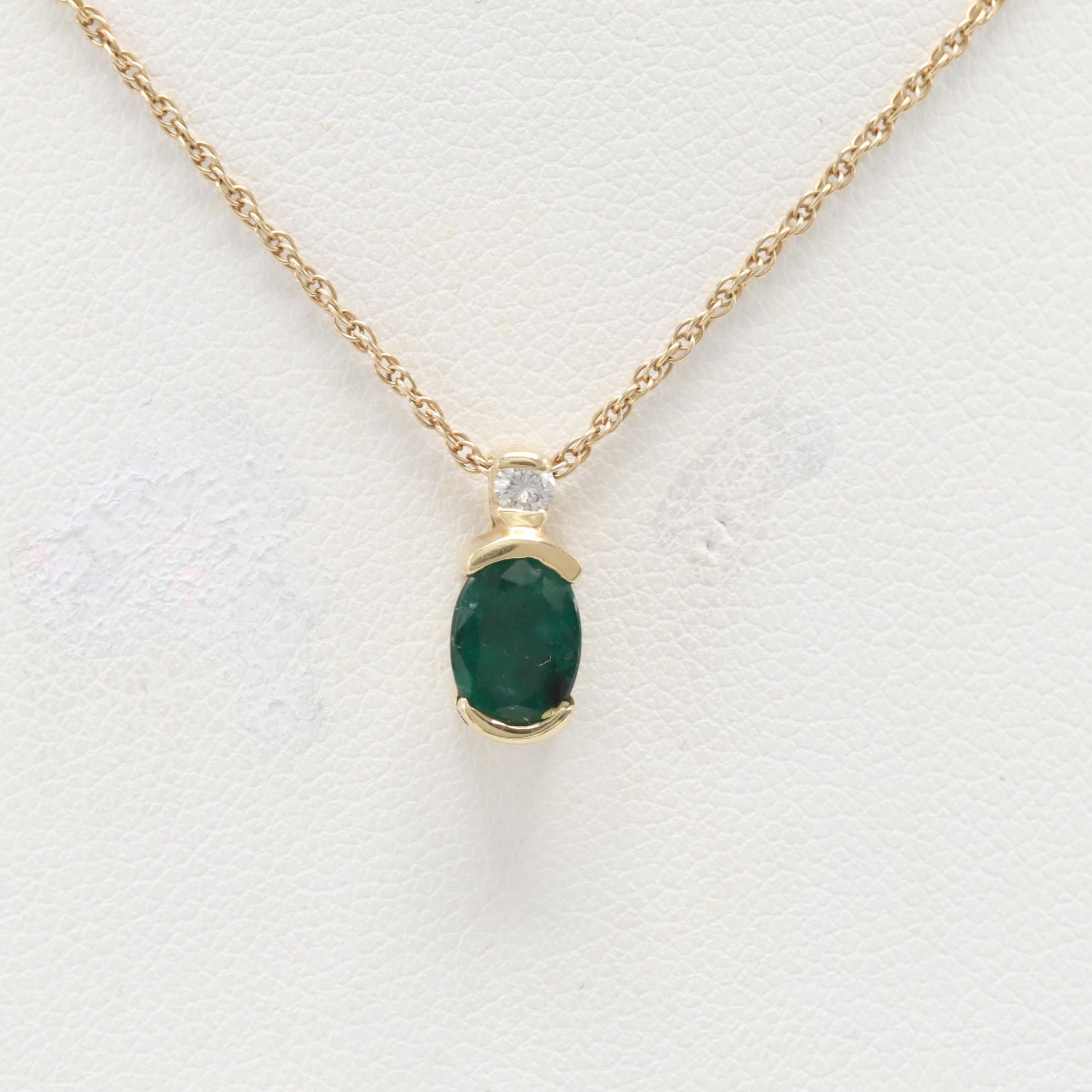 14K Yellow Gold Emerald and Diamond Necklace