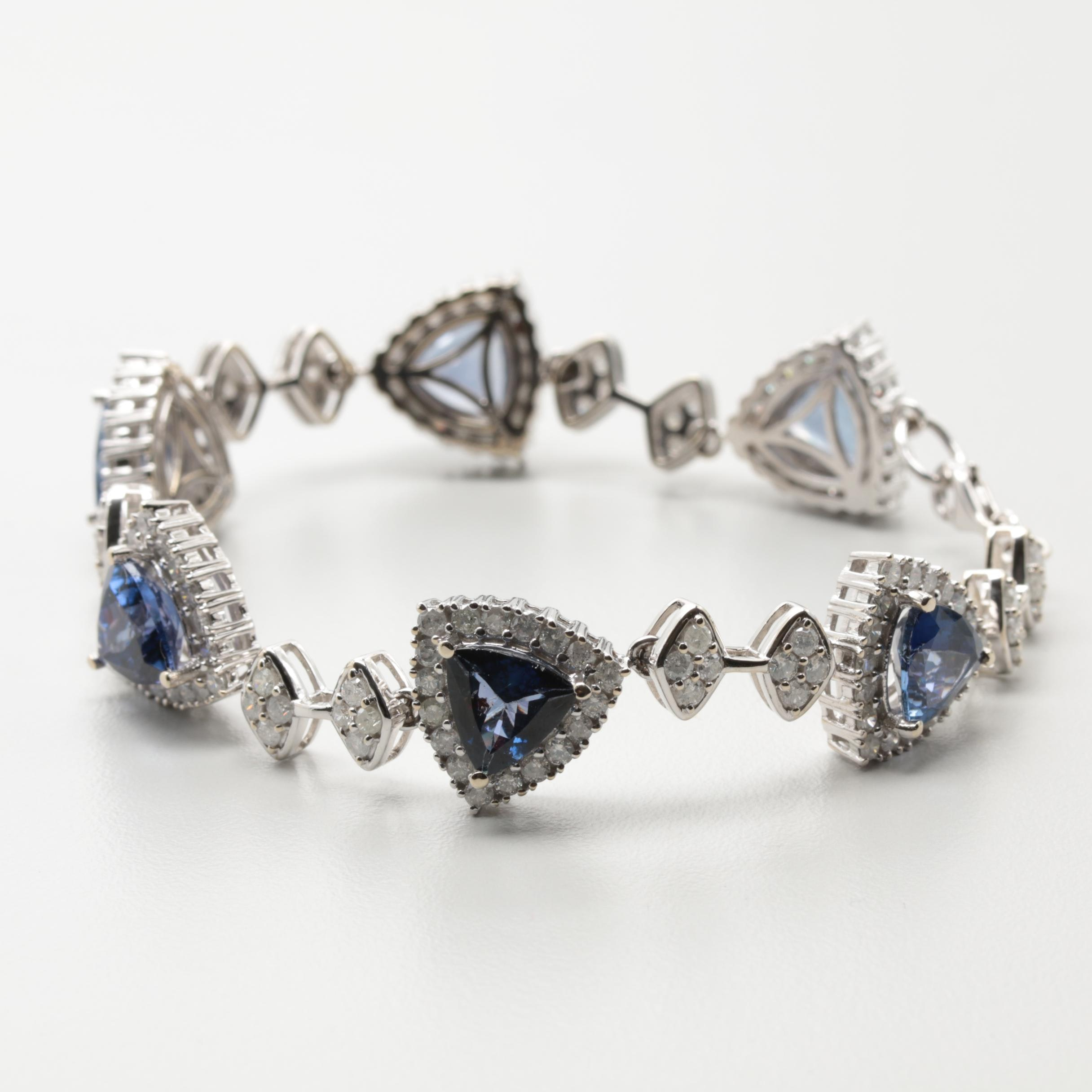 14K White Gold Tanzanite and 4.08 CTW Diamond Bracelet