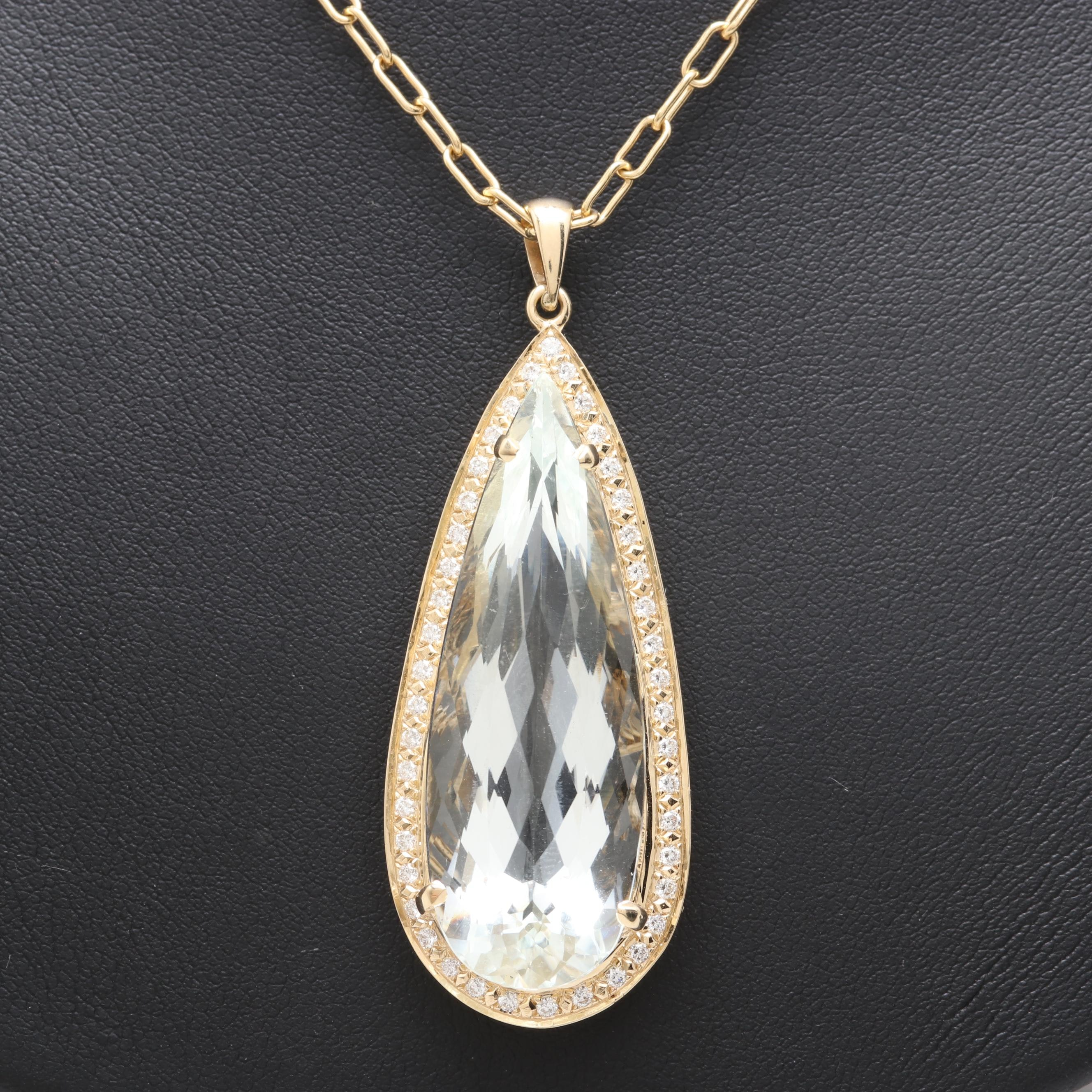 14K Yellow Gold Synthetic Aquamarine and Diamond Pendant Necklace