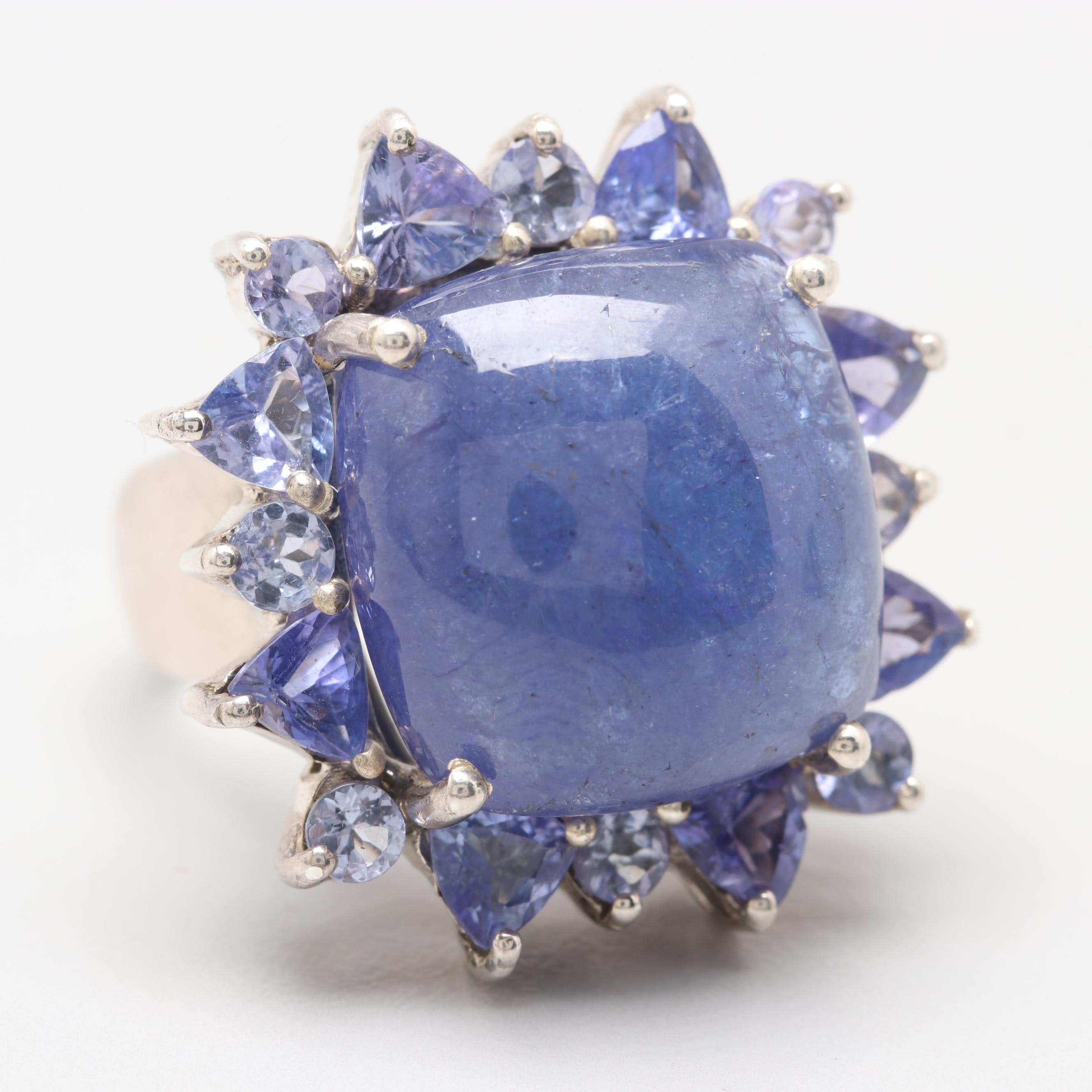 Sterling Silver Tanzanite Ring with 18.19 CT Center Stone