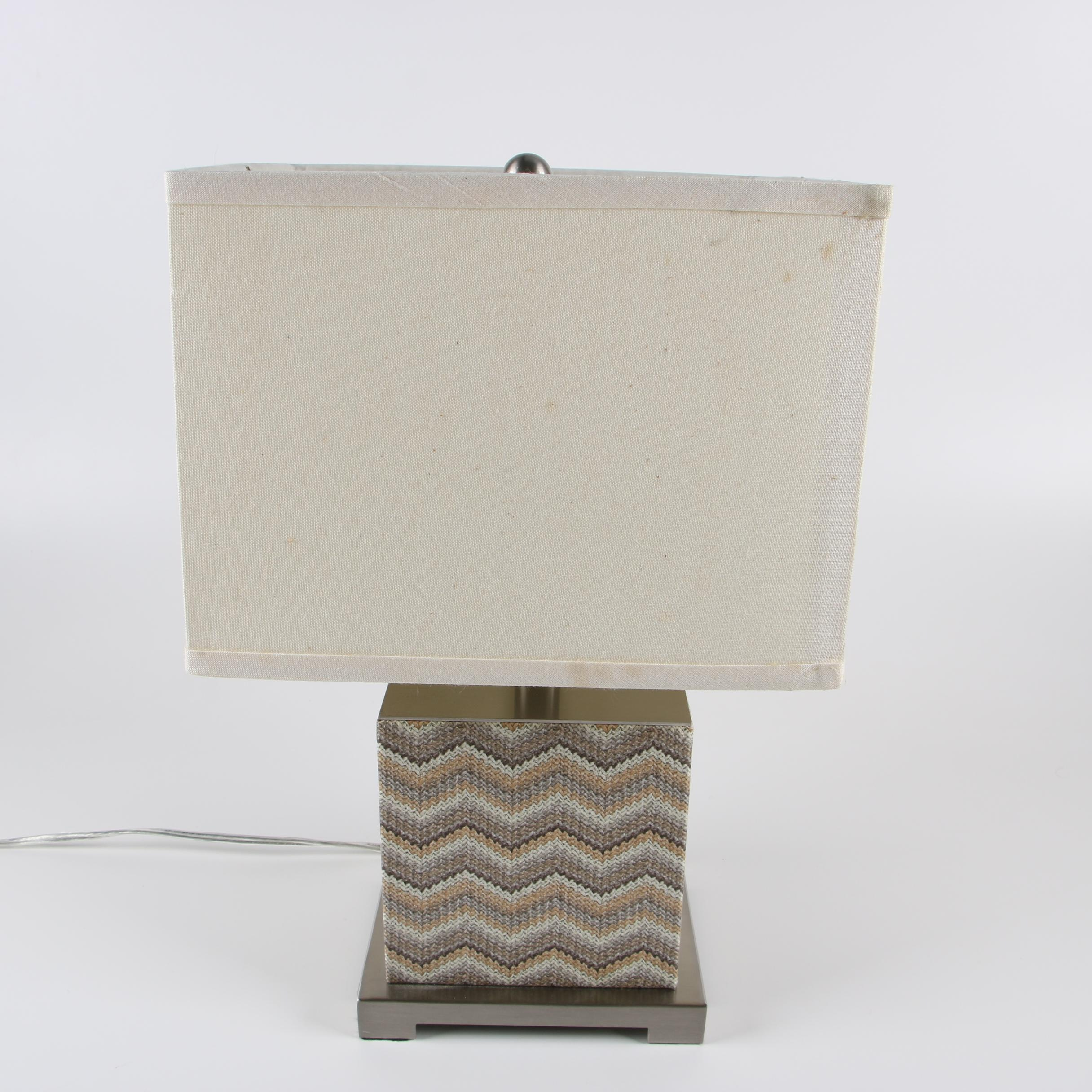 Chevron Woven Overlay Brucked Metal Block Table Lamp with Shade