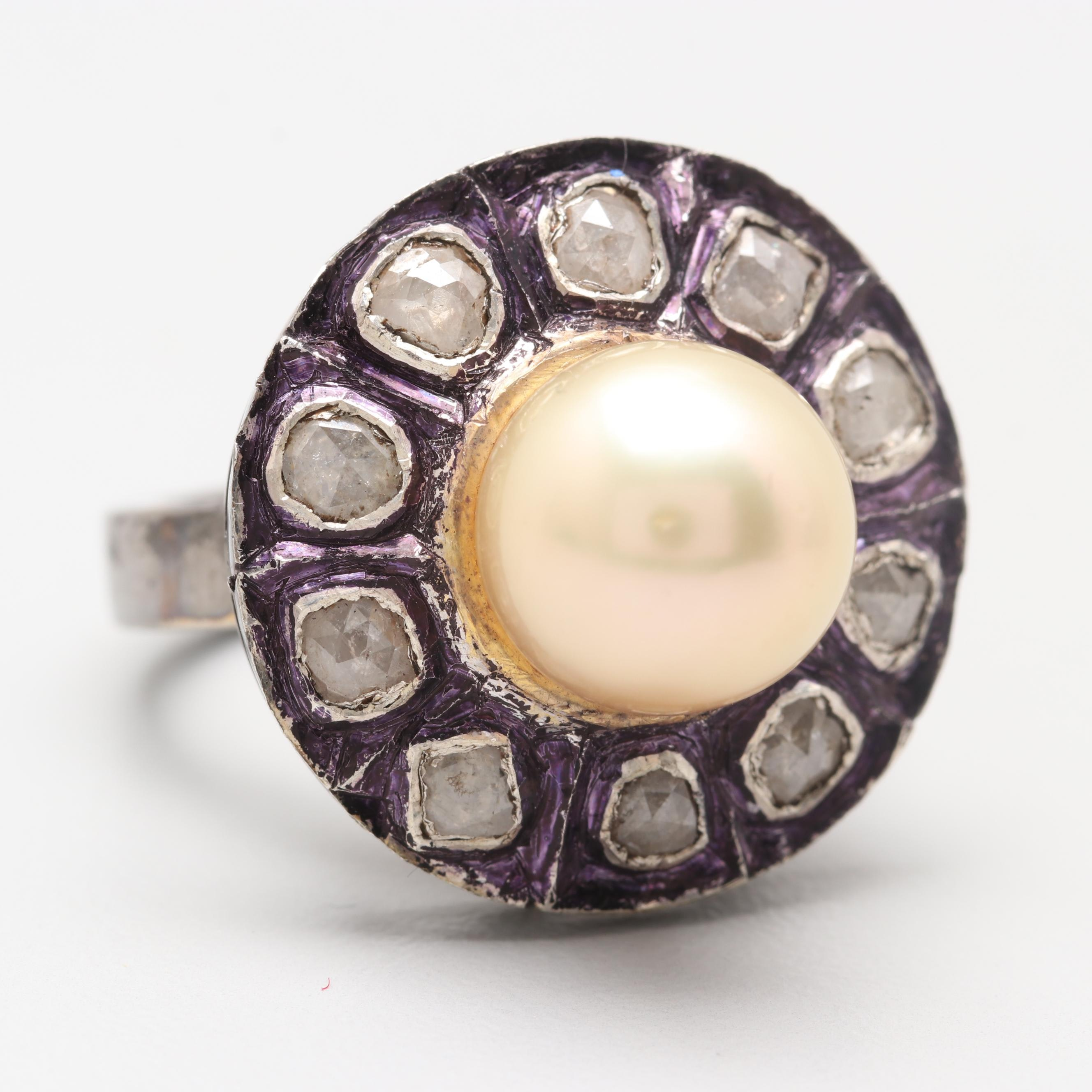 Sterling Silver Cultured Pearl and Polki Diamond Ring