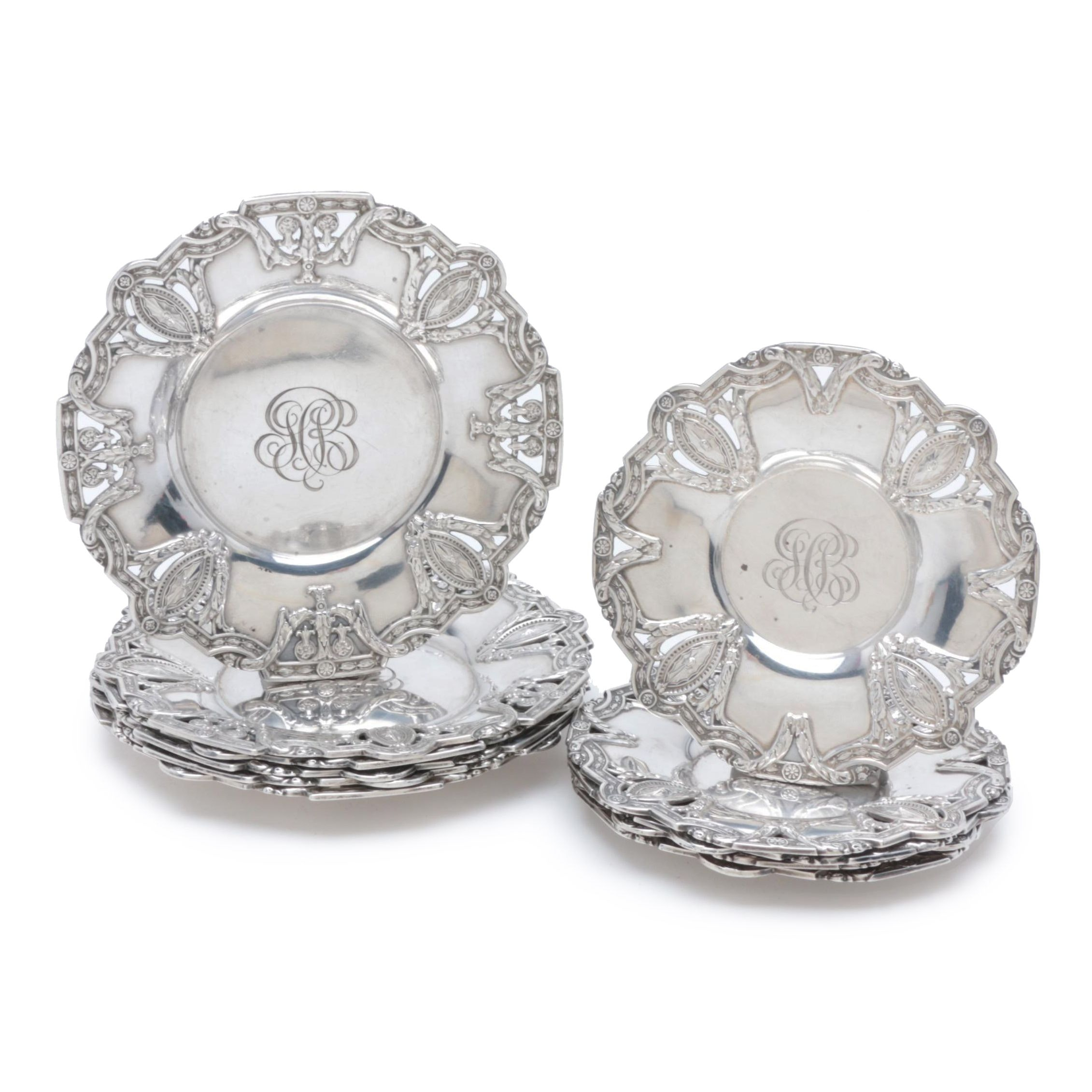Dominick & Haff Pierced Sterling Silver Saucers, Late 19th Century