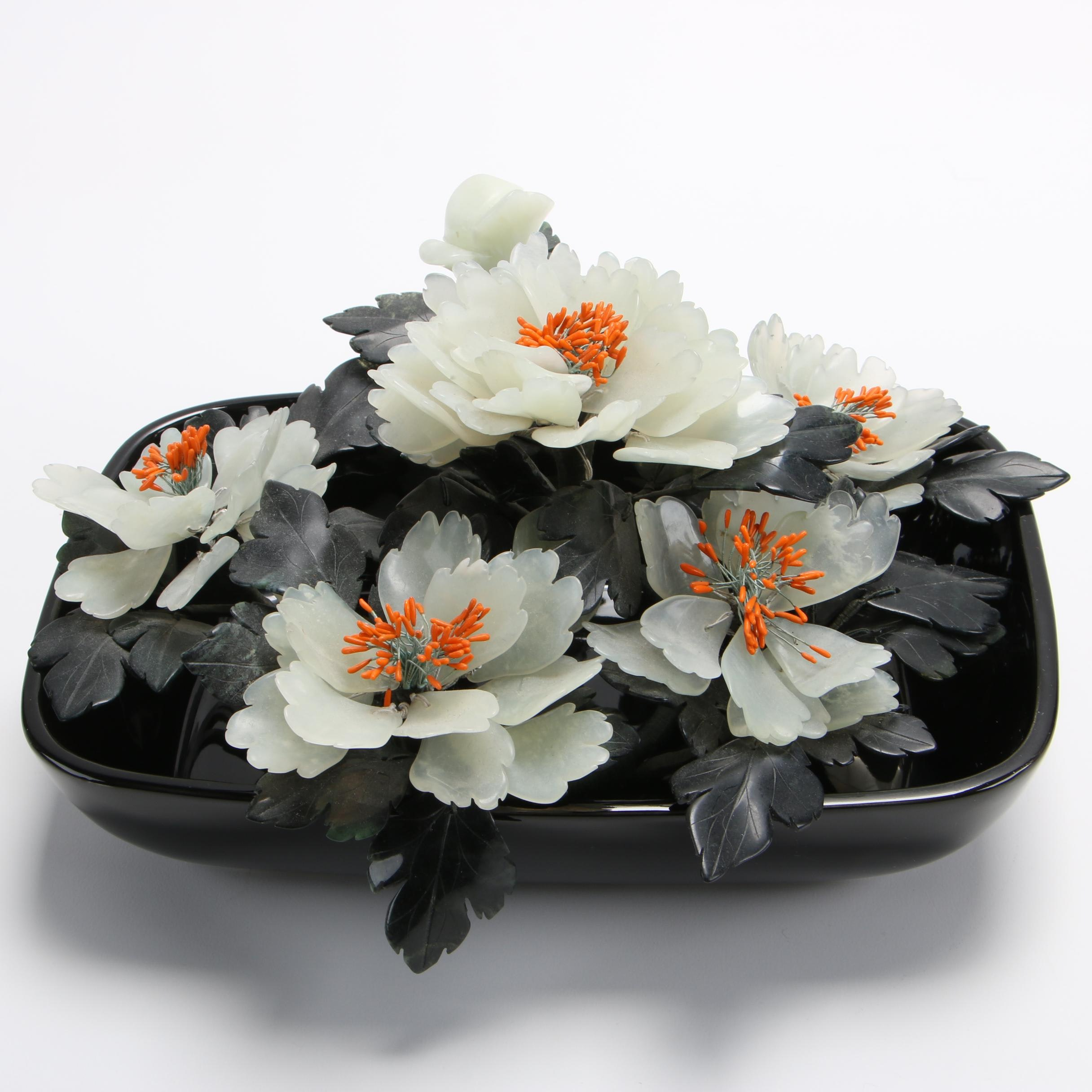 Chinese Bowenite and Nephrite Floral Arrangement in Inarco Bowl