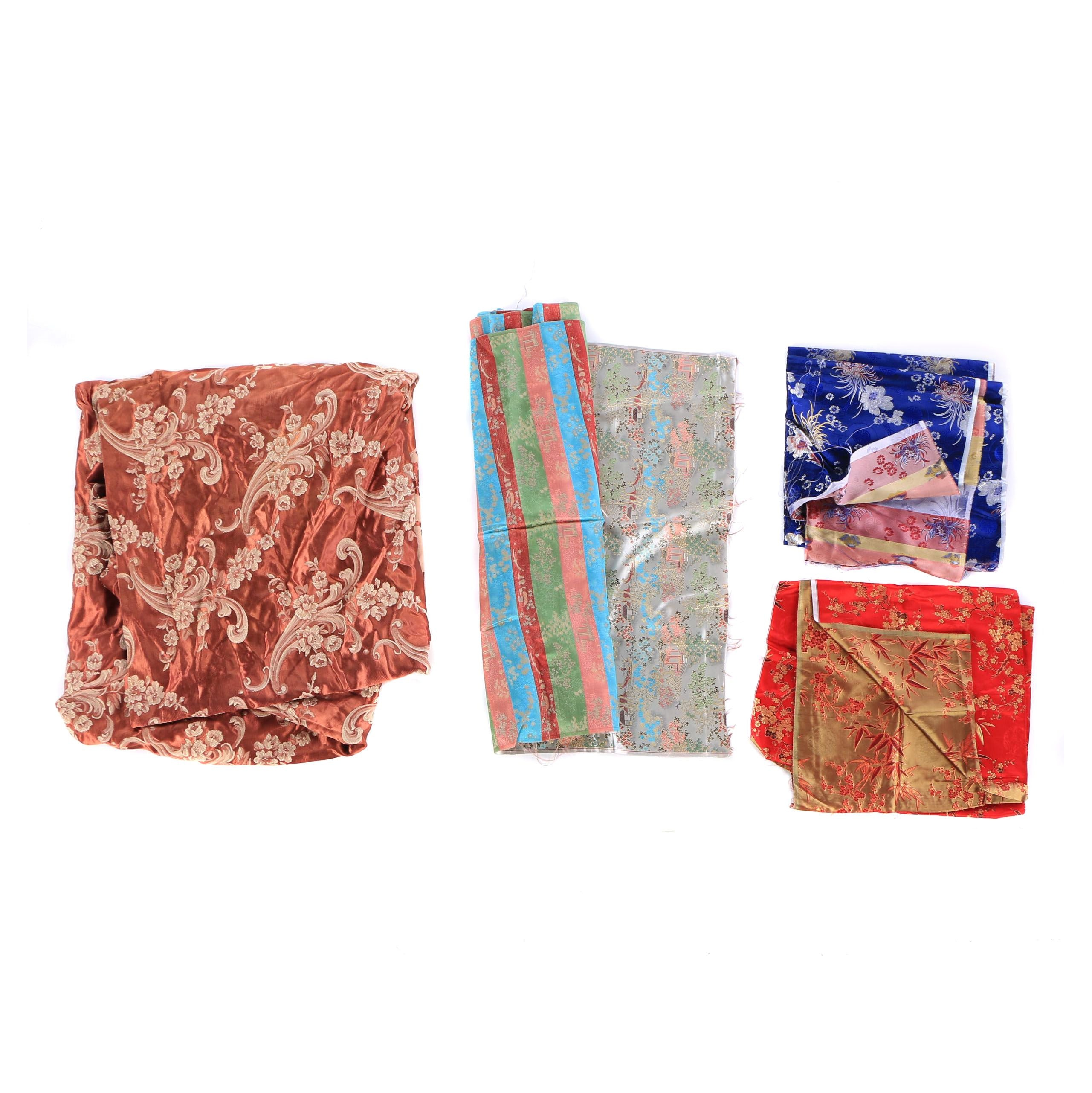 Chinese Silk Brocade Textiles and Curtain