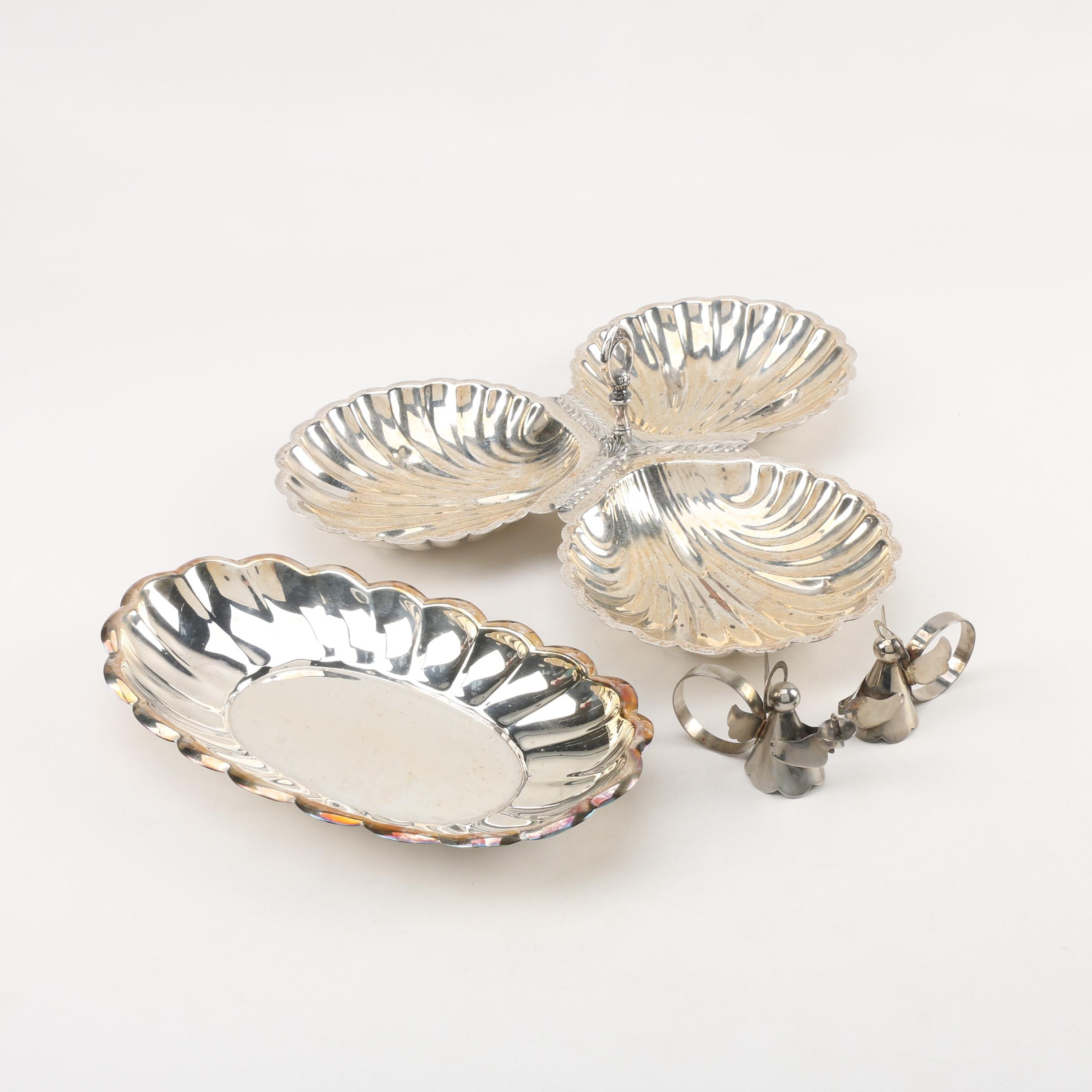 Friedman Silver Co. Three-Part Relish Dish with Other Silver Plate Tableware