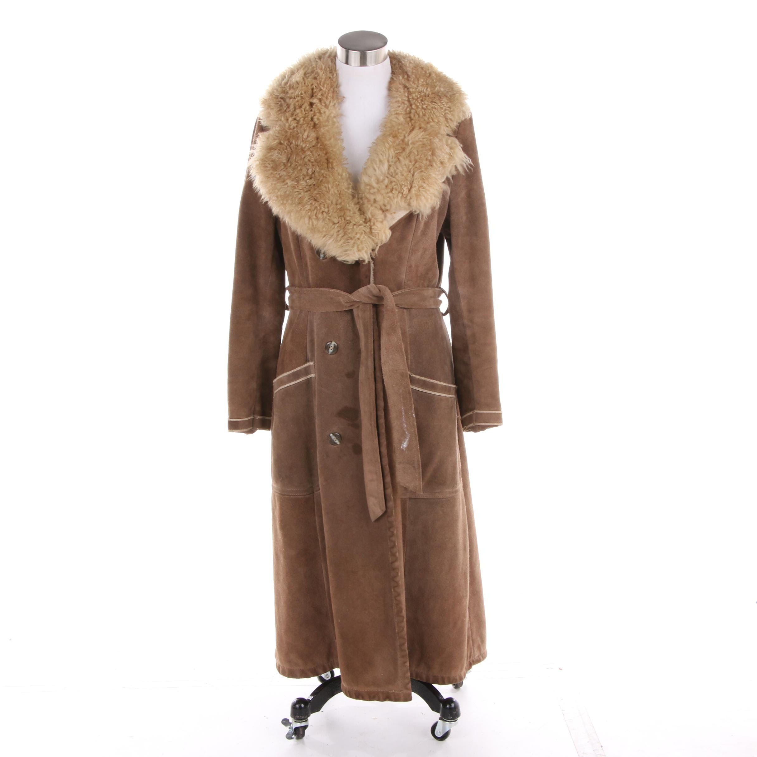 Women's Vintage Lord & Taylor Brown Suede and Shearling Coat