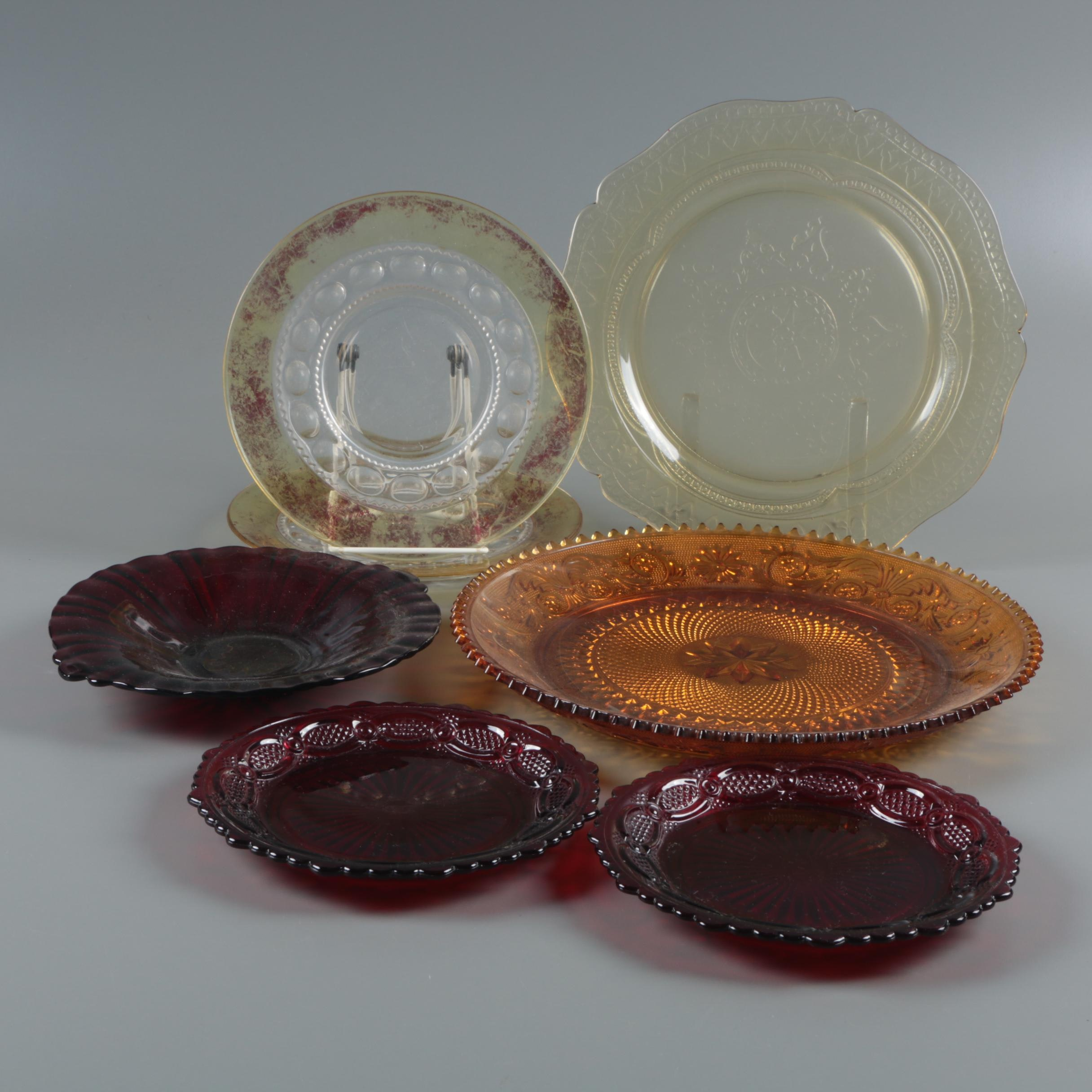 "Avon ""Cape Cod Ruby"" Salad Plates with Other Vintage Glass Plates"