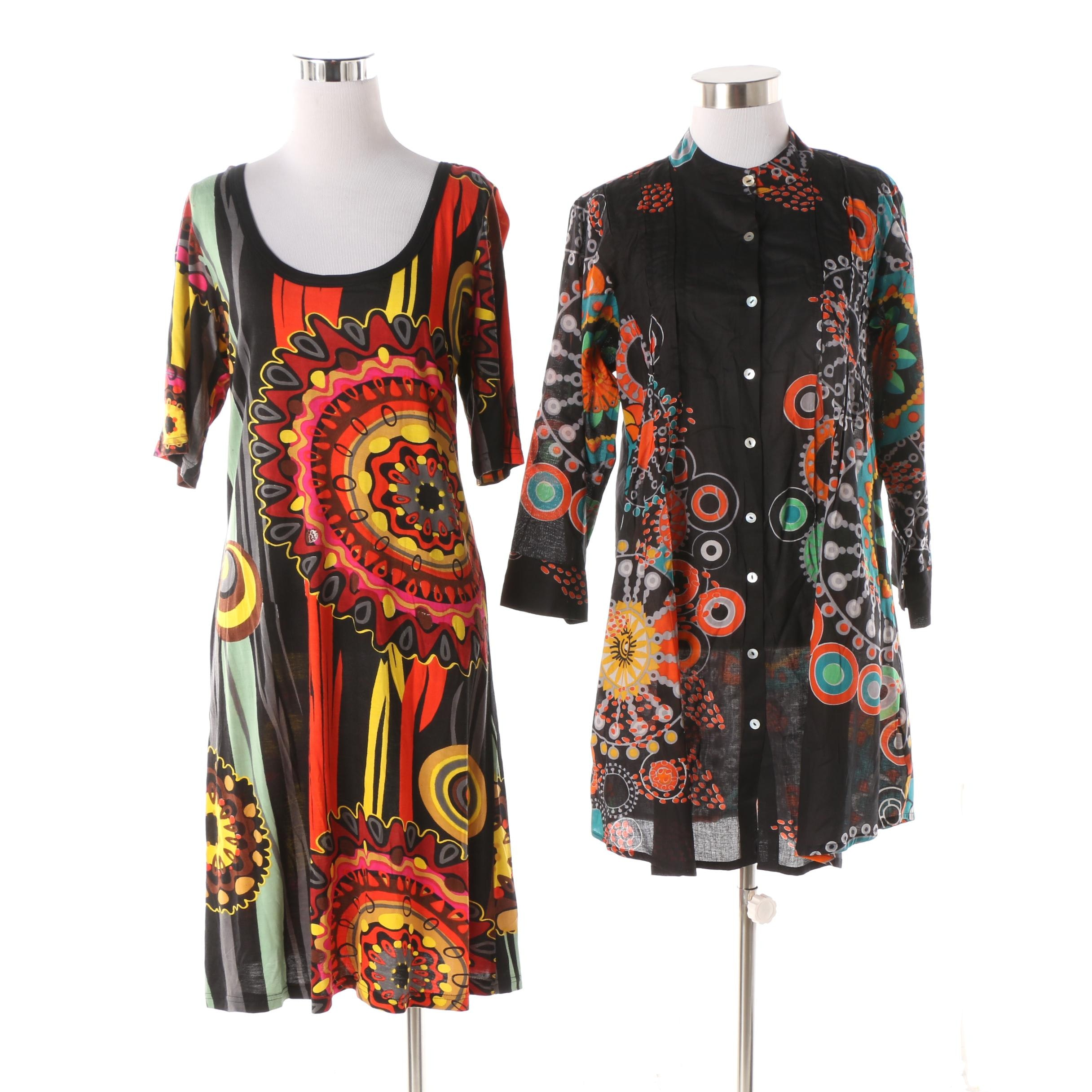 Aller Simplement Abstract Print Tunic and Scoop Neck Dress