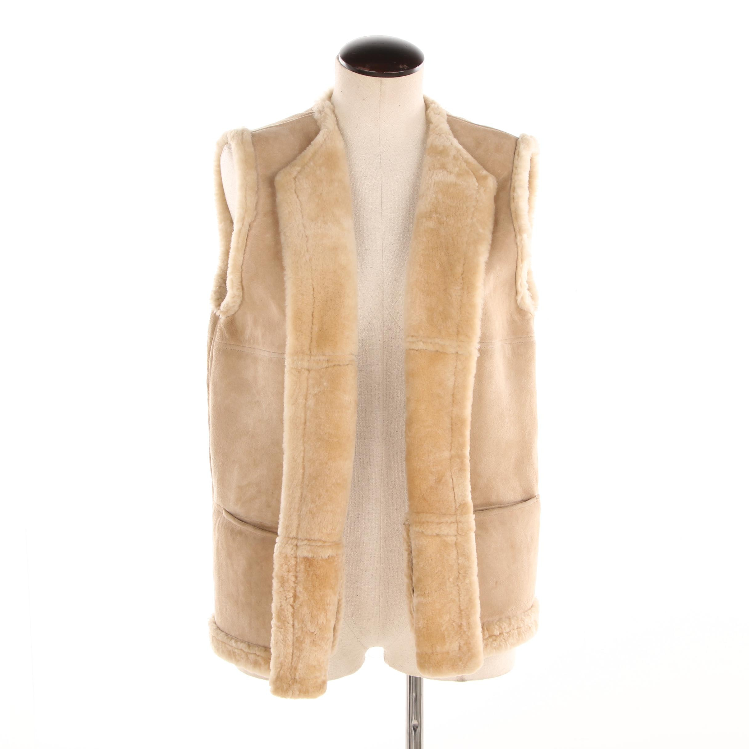 Women's Beige Suede and Shearling Vest, Made in Italy