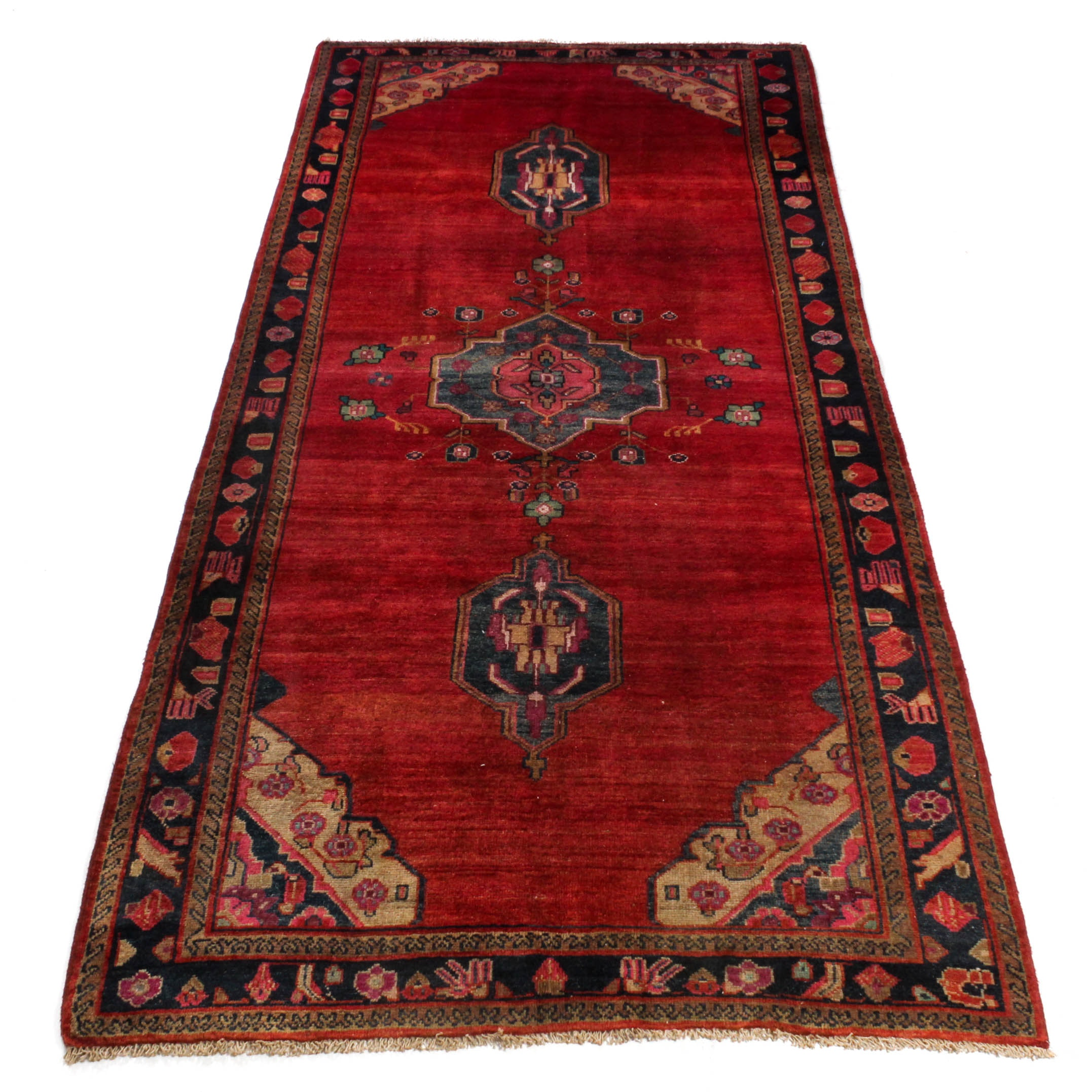 Vintage Hand-Knotted Persian Sarouk Long Rug