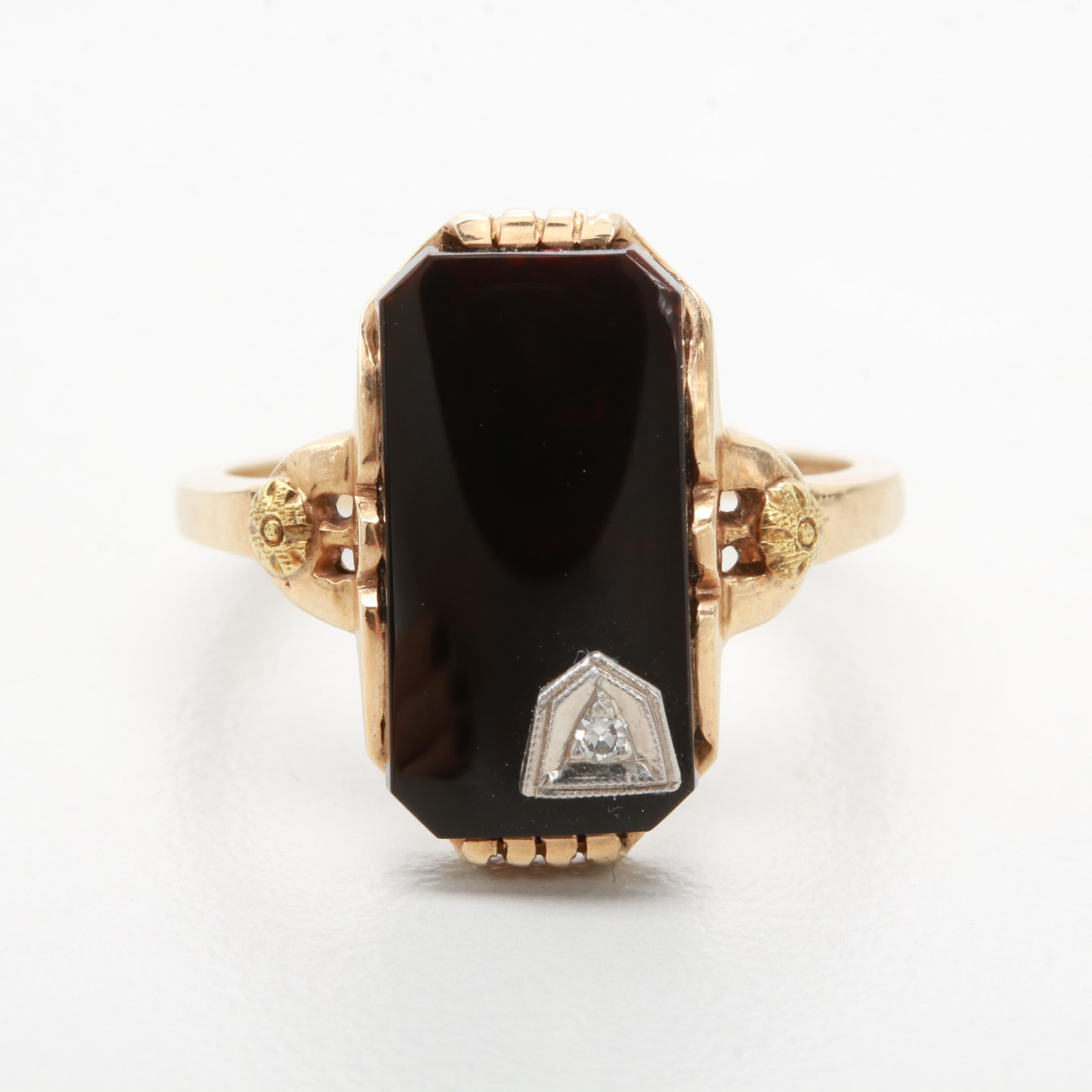 Art Deco 10K Yellow and White Gold Black Onyx Diamond Ring
