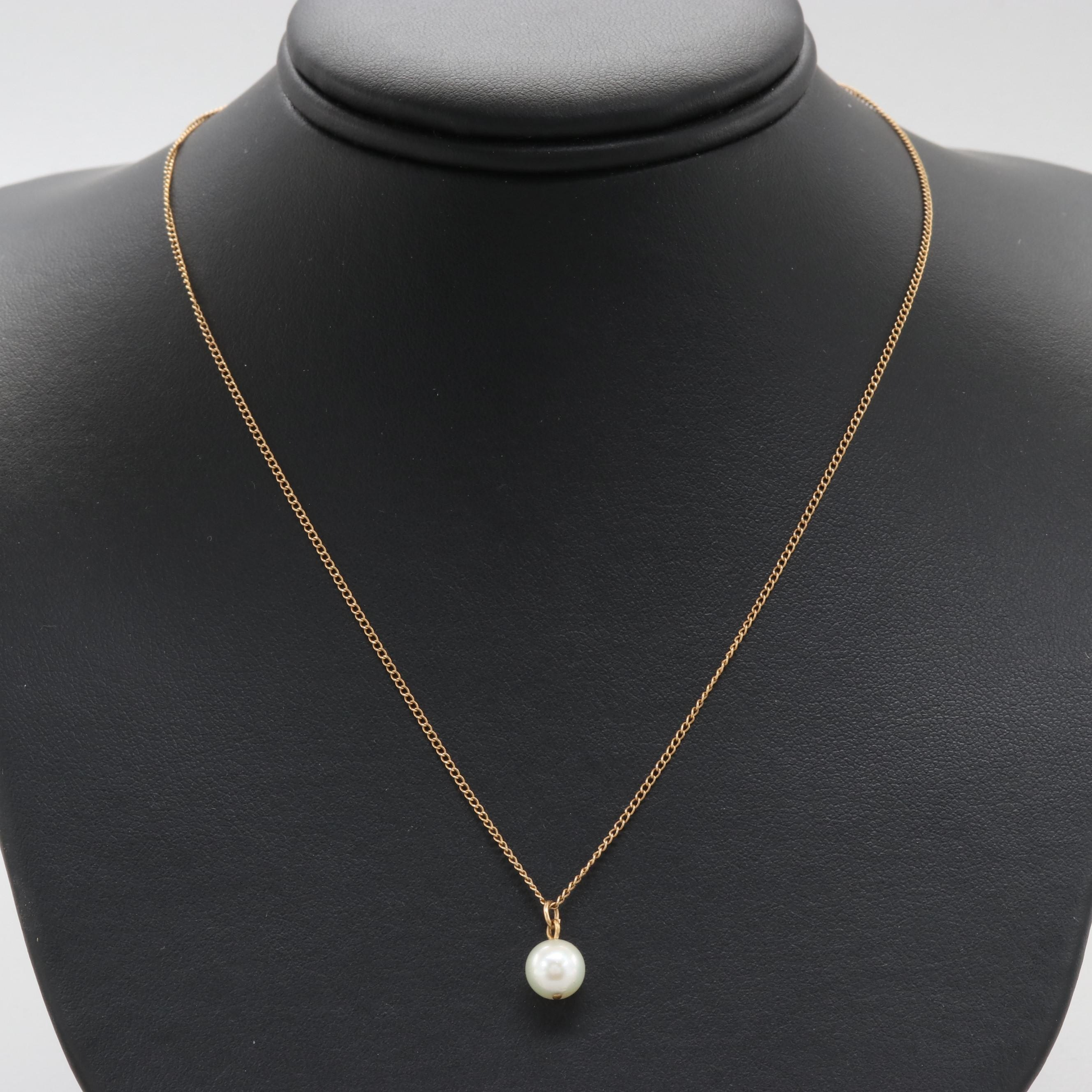 14K Yellow Gold Cultured Pearl Pendant Necklace