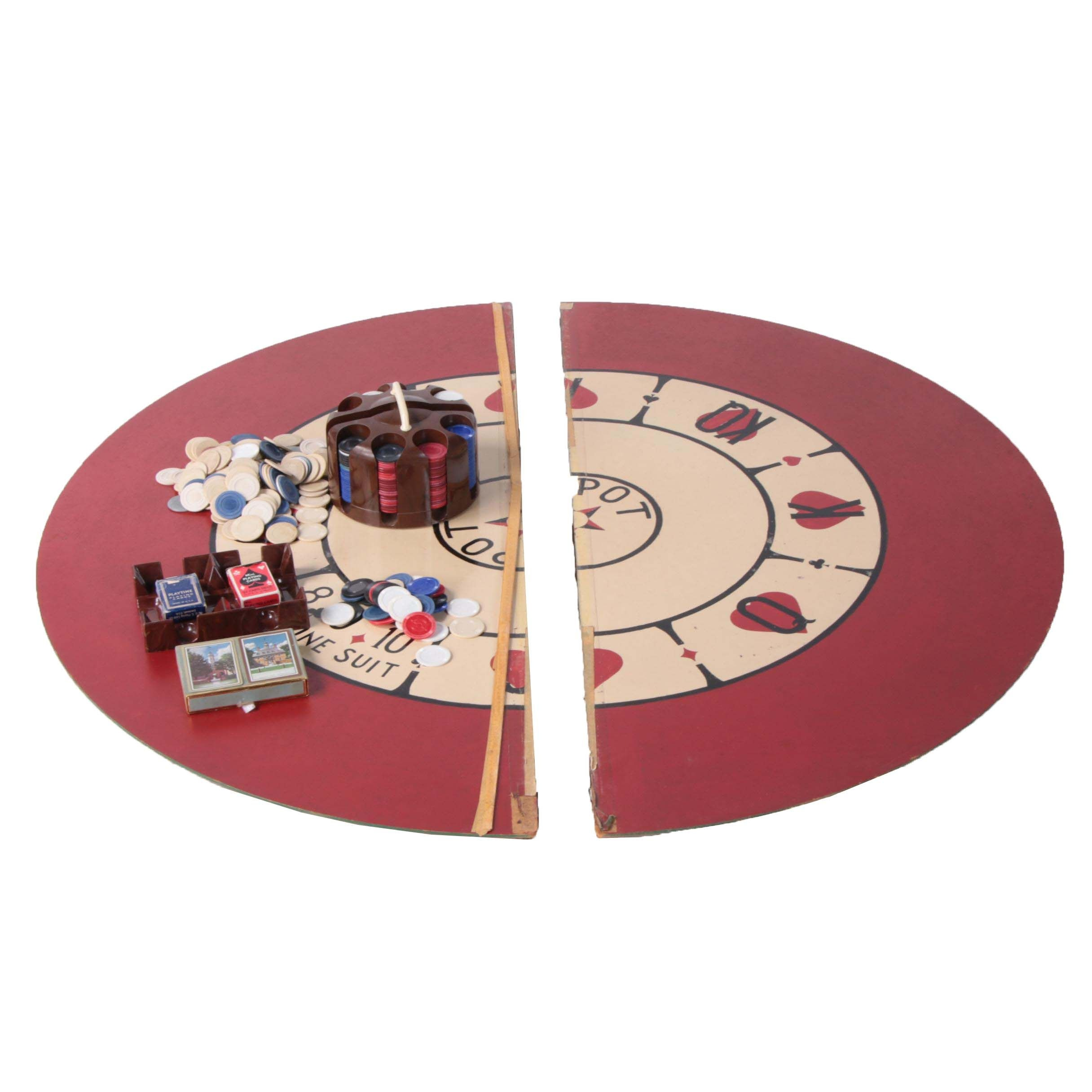 Vintage EZ-Do Tripoli Game Board with Poker Chips and Cards
