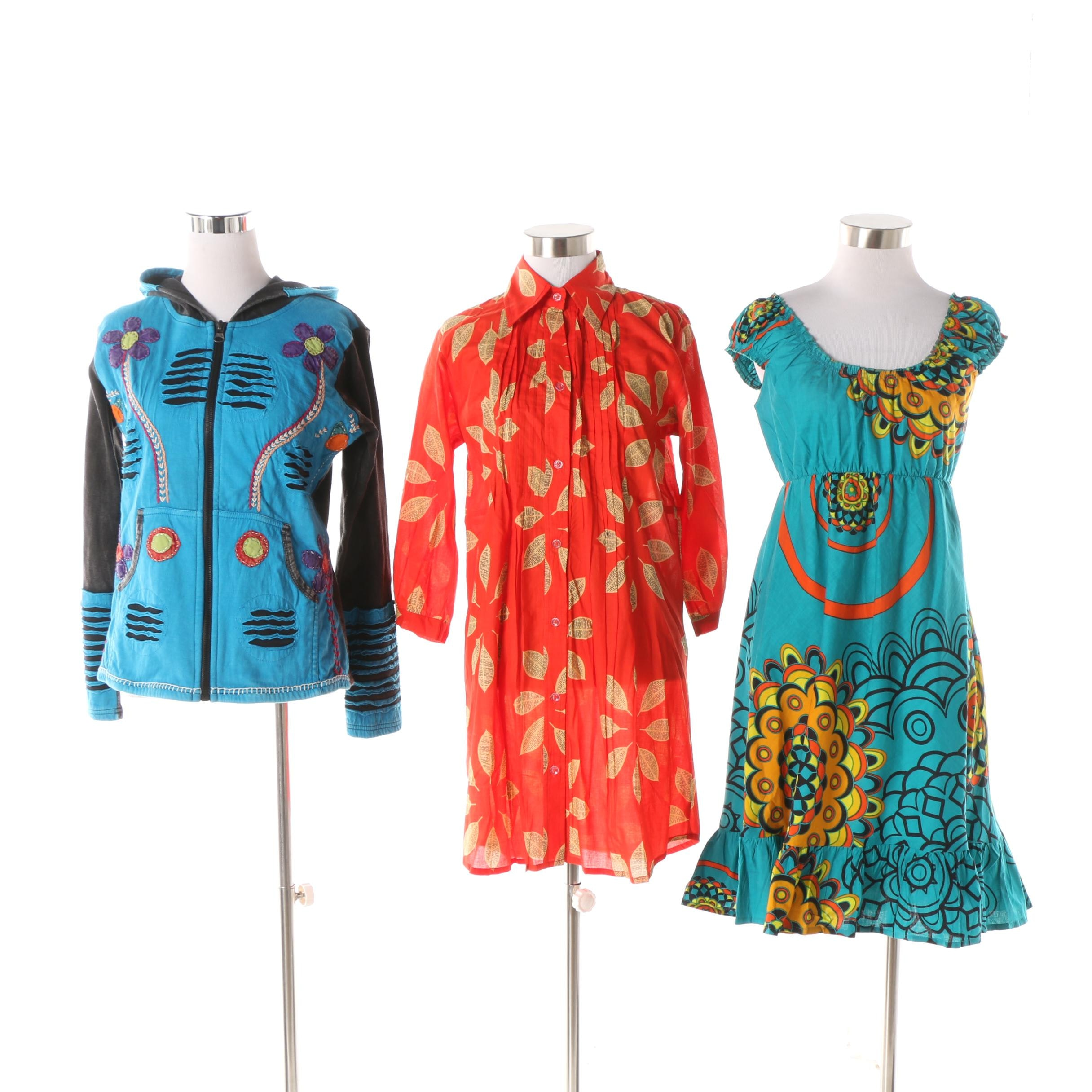 Aller Simplement Abstract Print Dress, Leaf Print Tunic and Slit Accent Hoodie