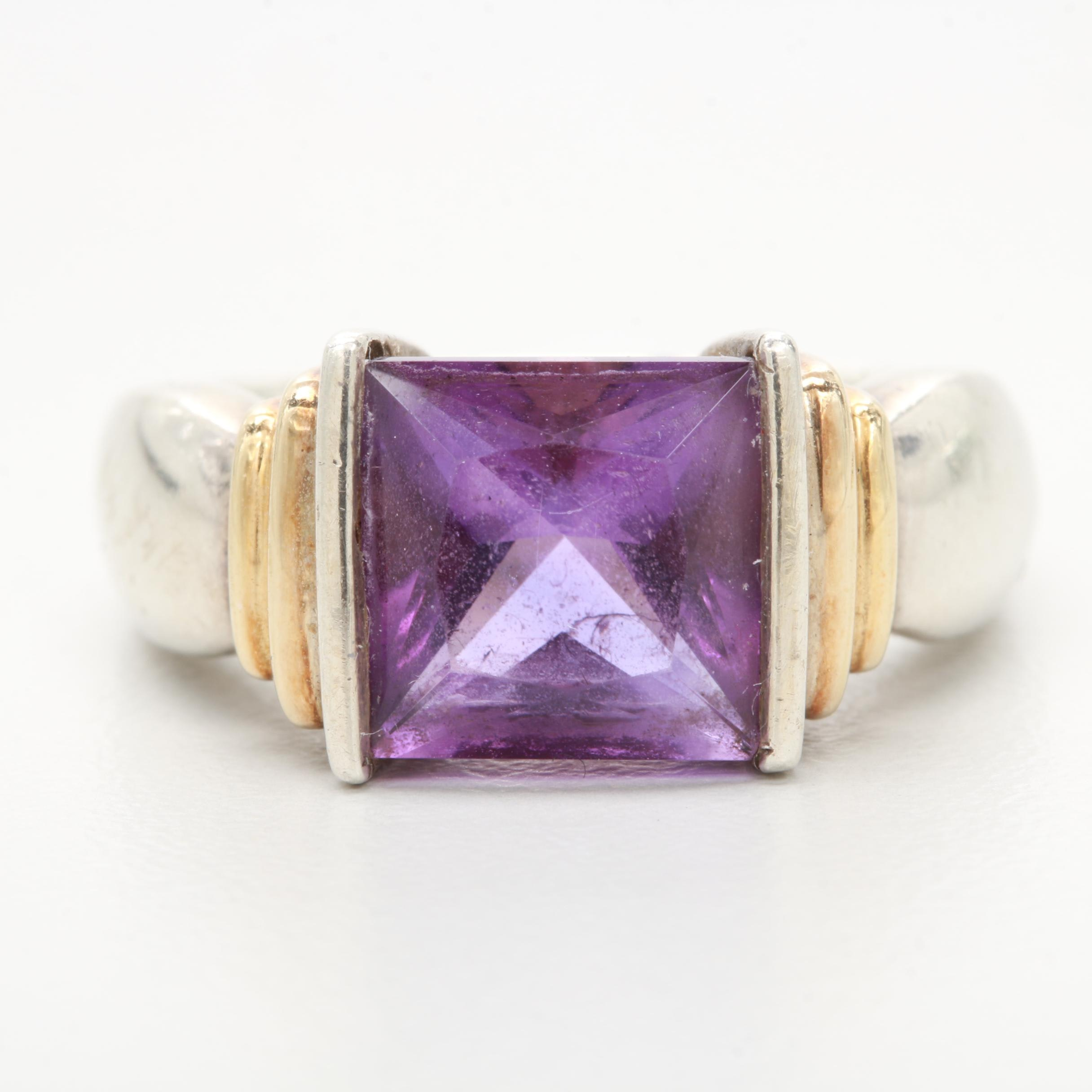 Lorenzo Sterling Silver Amethyst Ring with 18K Yellow Gold Accents