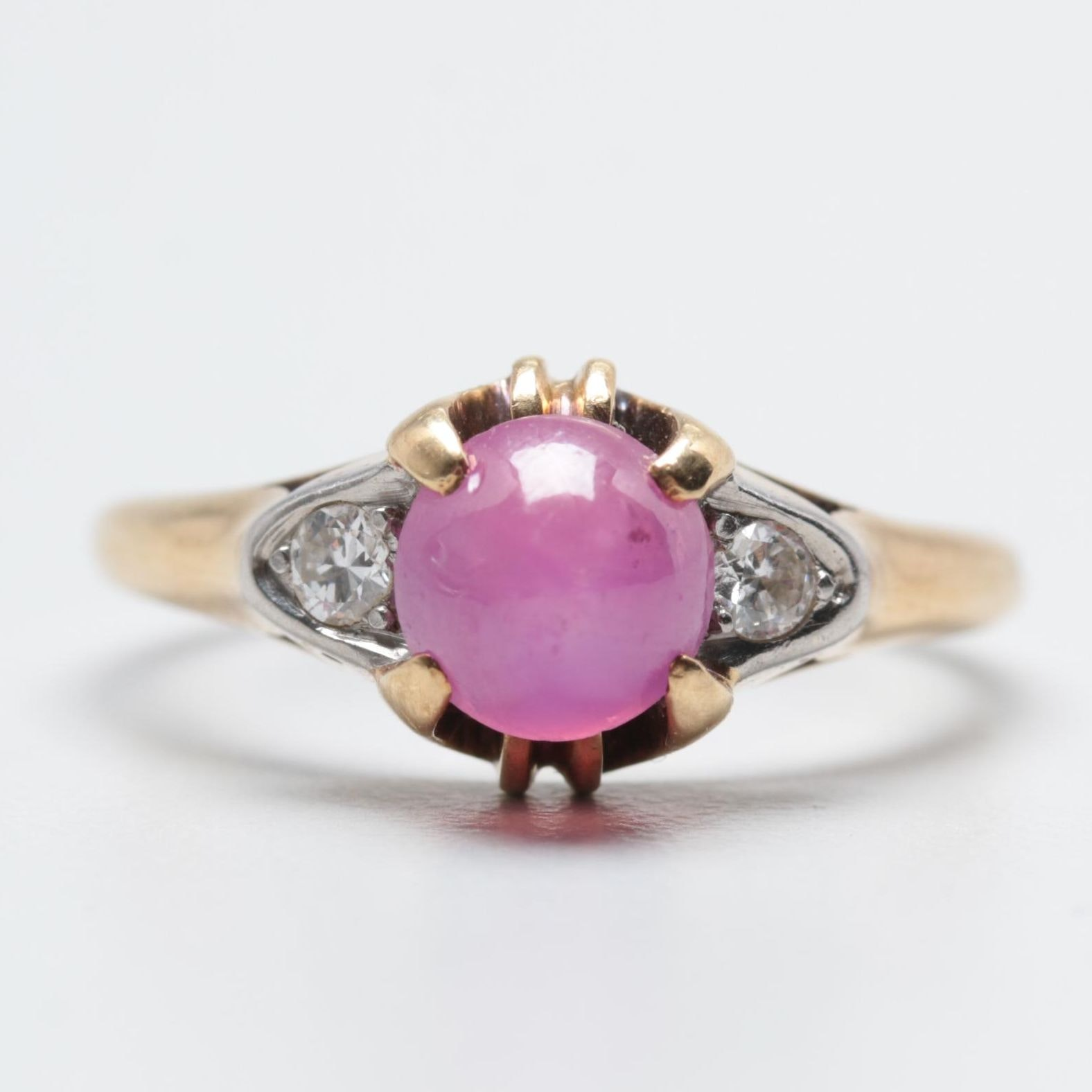 14K Yellow Gold and Palladium 1.89 CT Star Ruby and Diamond Ring