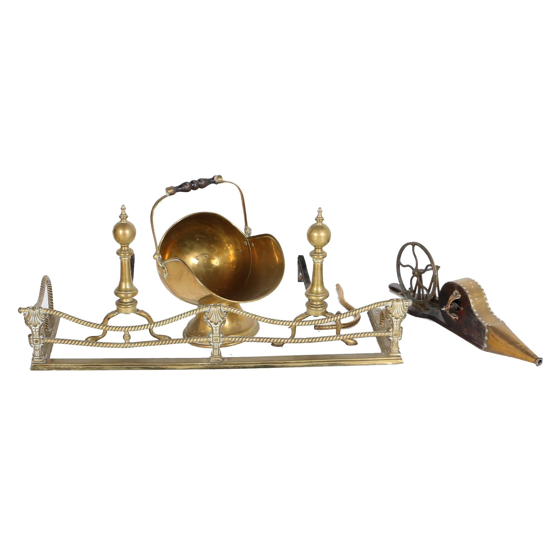 Group of Brass Fireplace Accessories, 19th Century