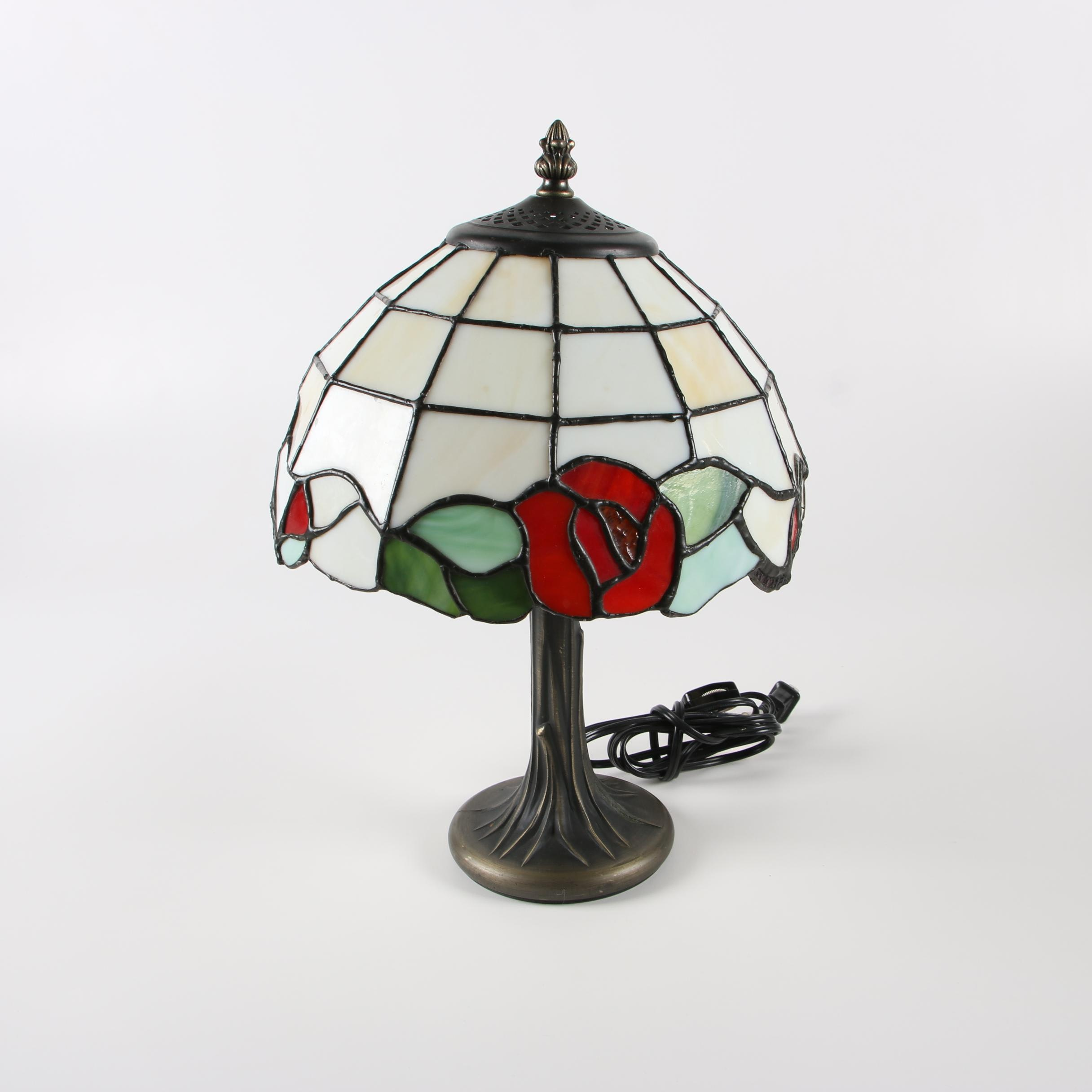 Metal Table Lamp with Rose Motif Stained Glass Shade