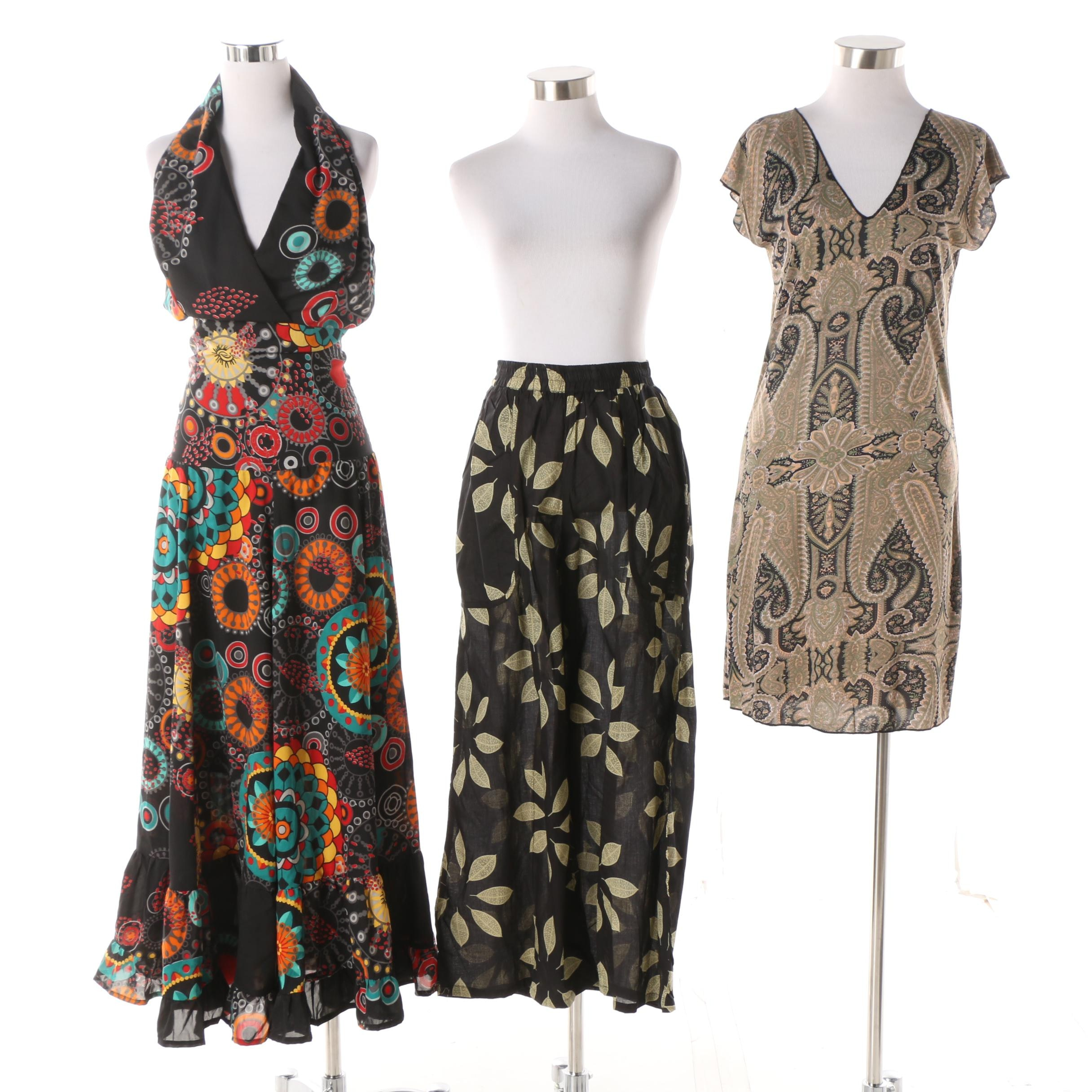 Aller Simplement Paisley and Abstract Dresses with Palazzo Pants