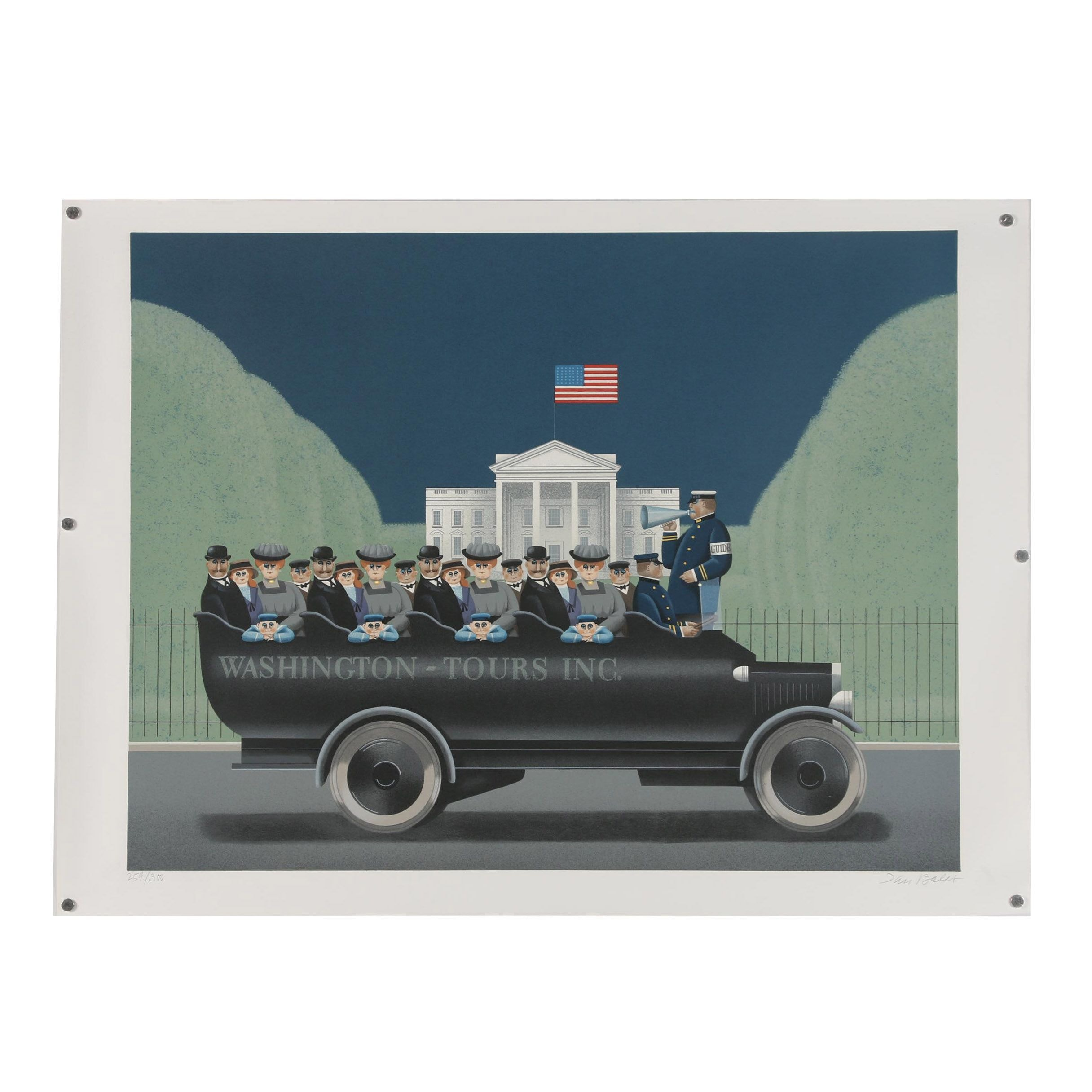 "Jan Balet Lithograph ""To the Left... The White House"""