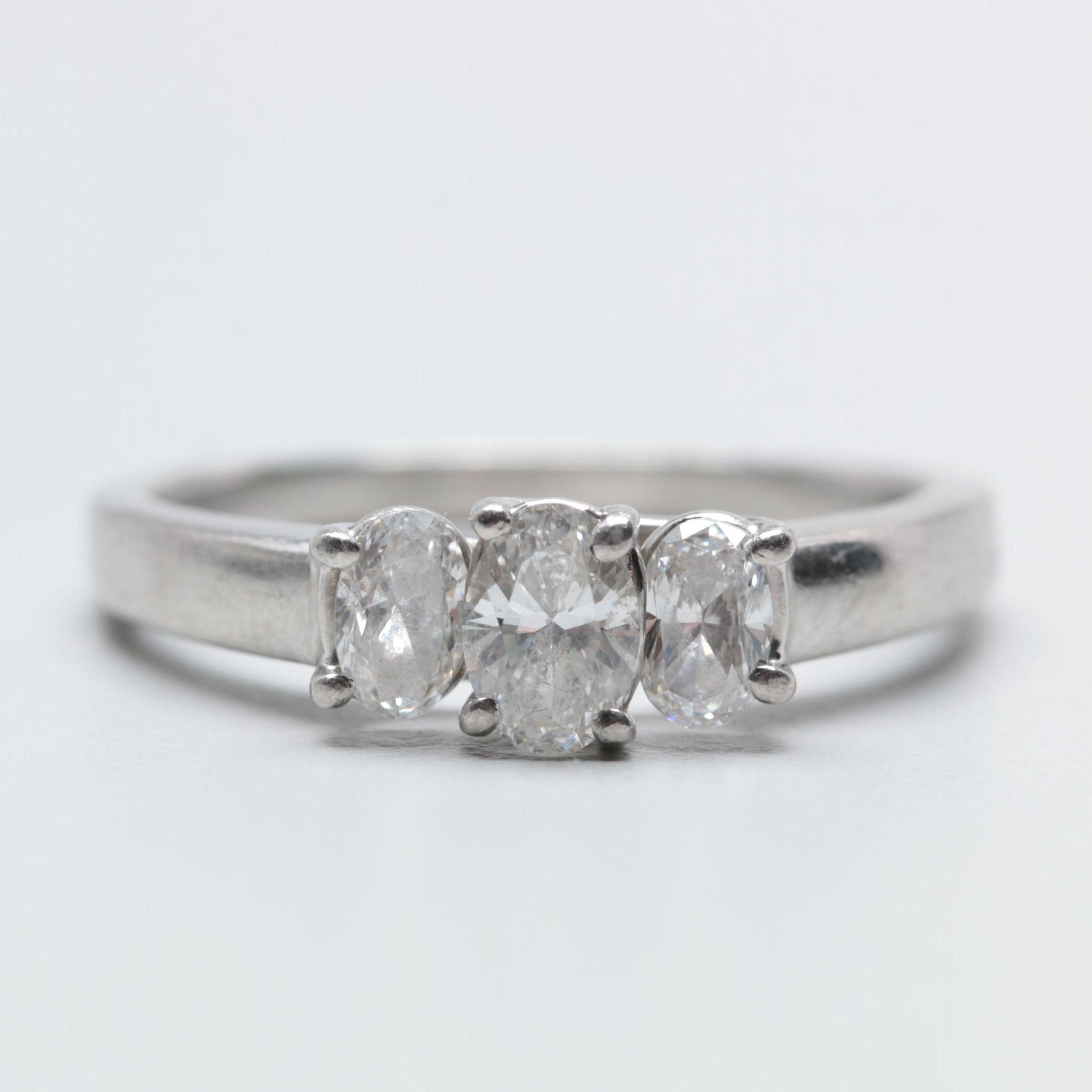 Platinum 0.99 CTW Diamond Ring