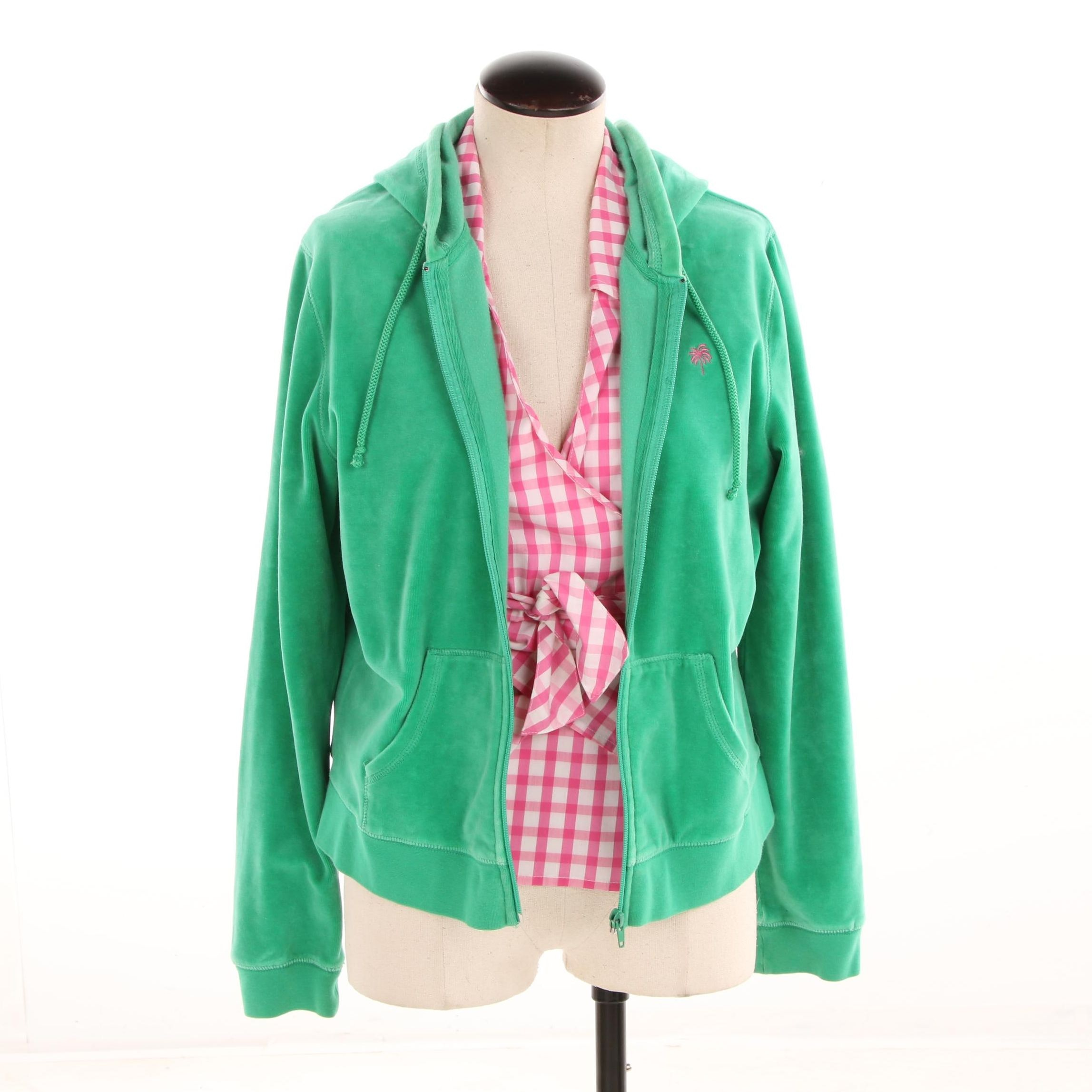 Lilly Pulitzer Green Velour Hoodie and Pink Gingham Sleeveless Wrap Shirt