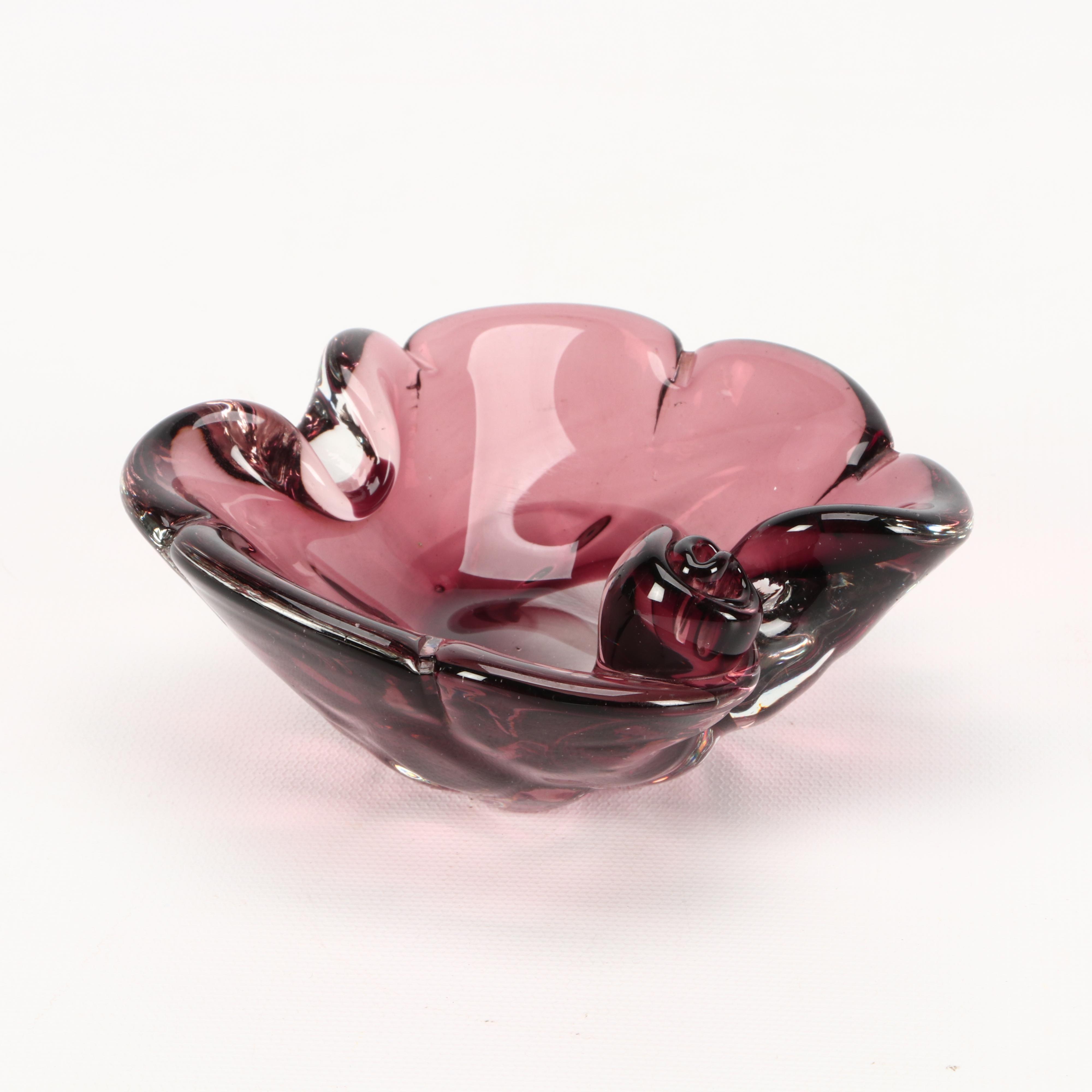 Cranberry Colored Art Glass Trinket Bowl