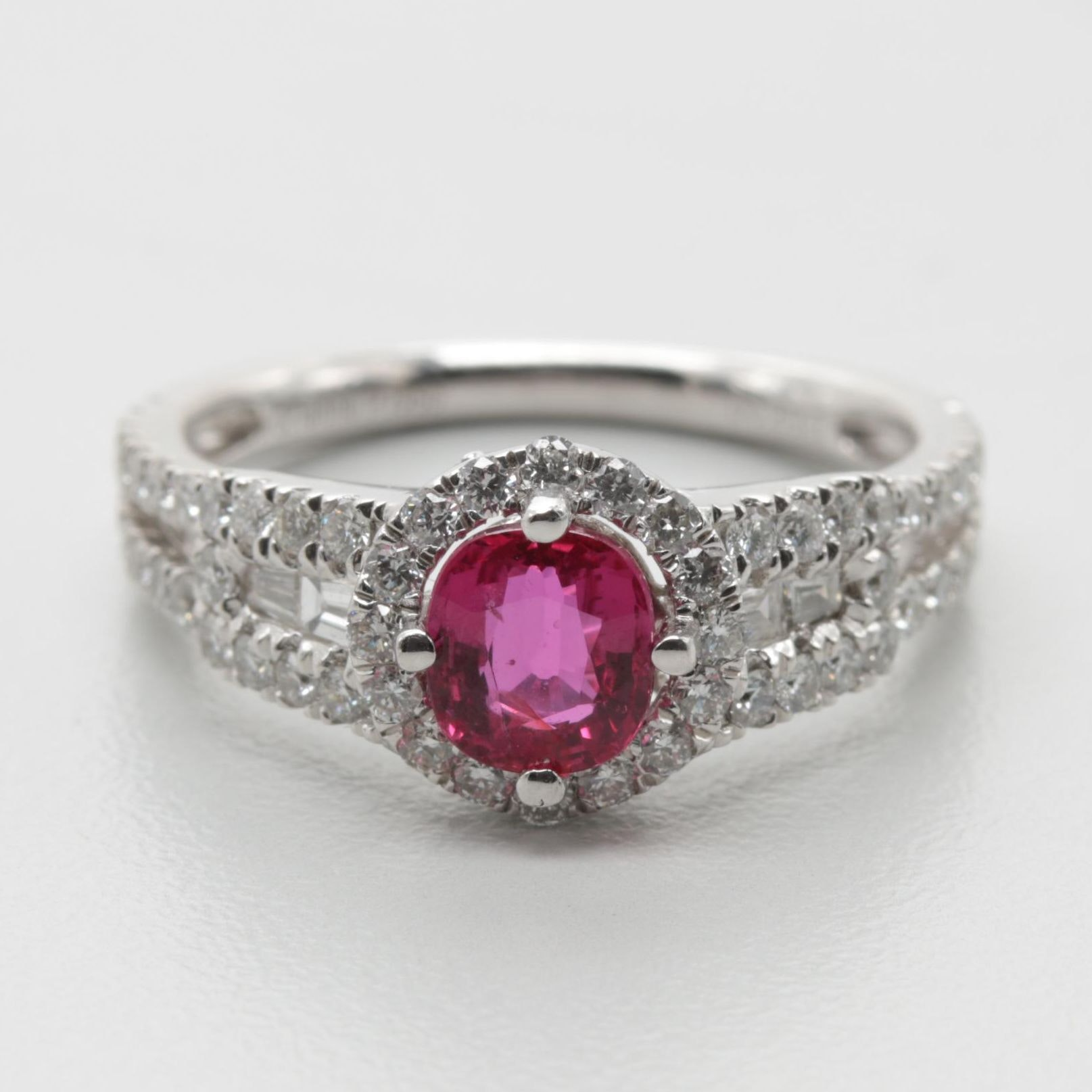 Platinum Unheated 1.01 CT Ruby and 0.96 CTW Diamond Ring
