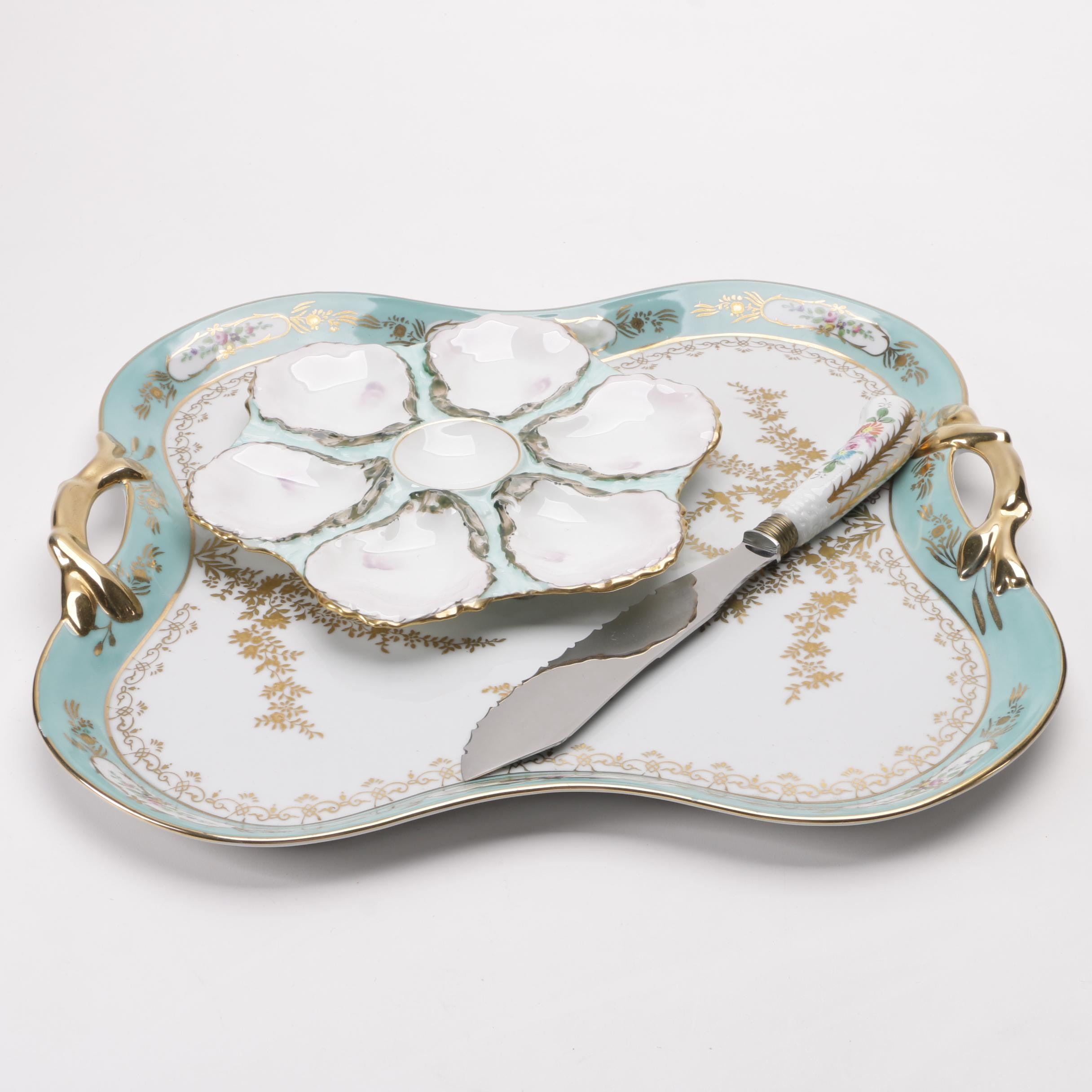 Cake Knife and Serving Tray with Haviland Oyster Plate, 1876-86
