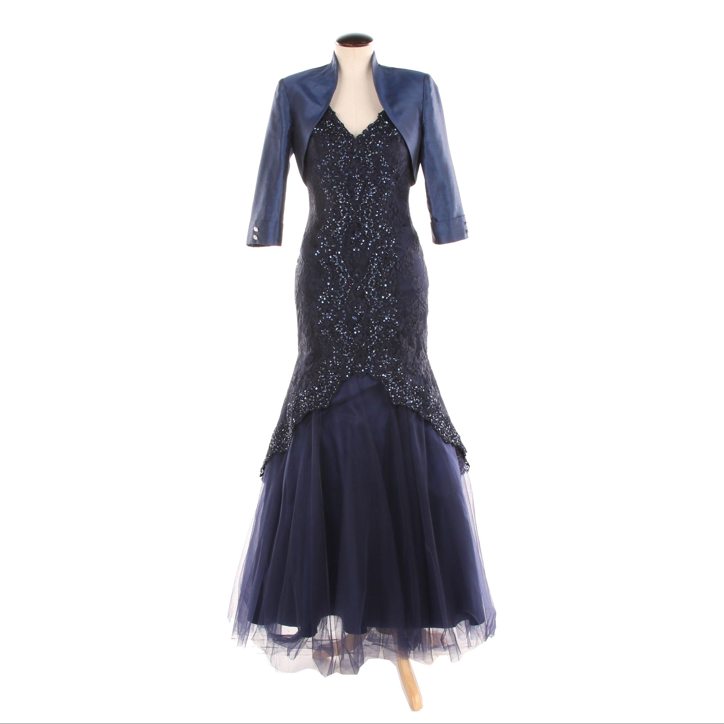 MGNY Navy Embellished Trumpet Gown Including Social Occasions Bolero