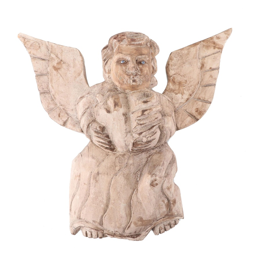 Folk Art Carved Wooden Angel Wall Hanging
