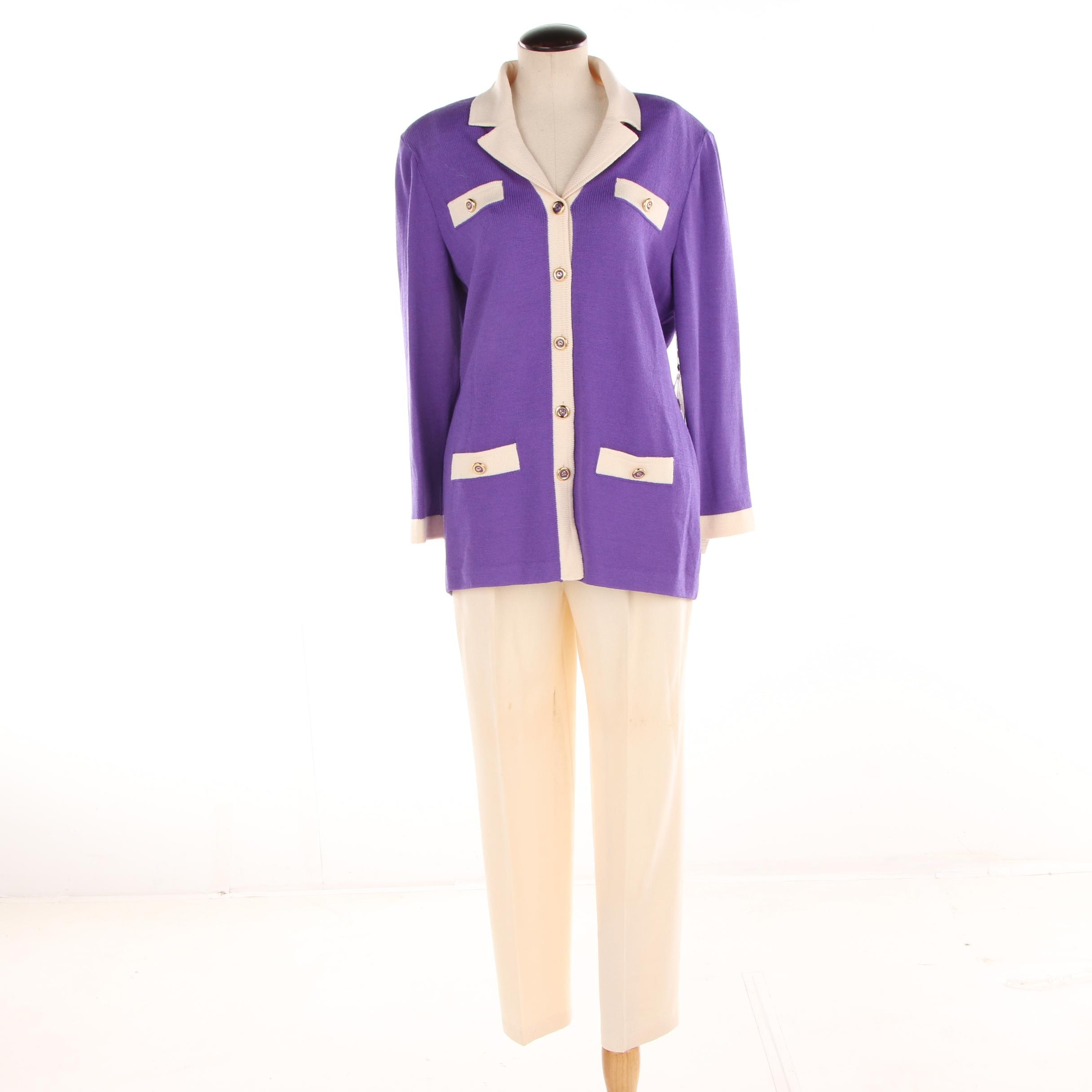 Women's St. John Collection Purple and Cream Knit Pantsuit