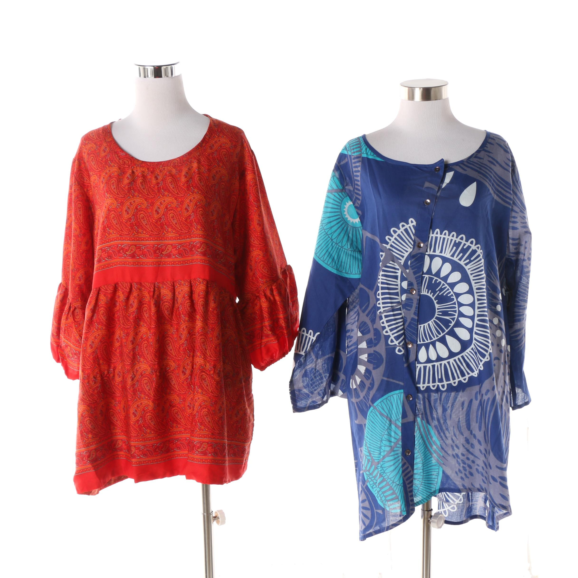 Aller Simplement Paisley and Mandala Print Tunic Tops