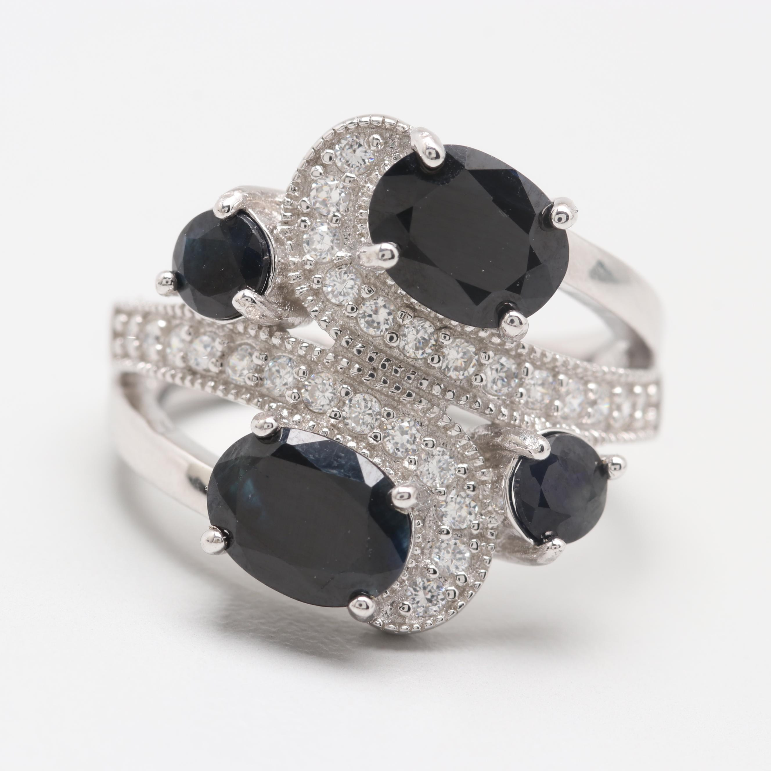 Sterling Silver Sapphire and Cubic Zirconia Ring