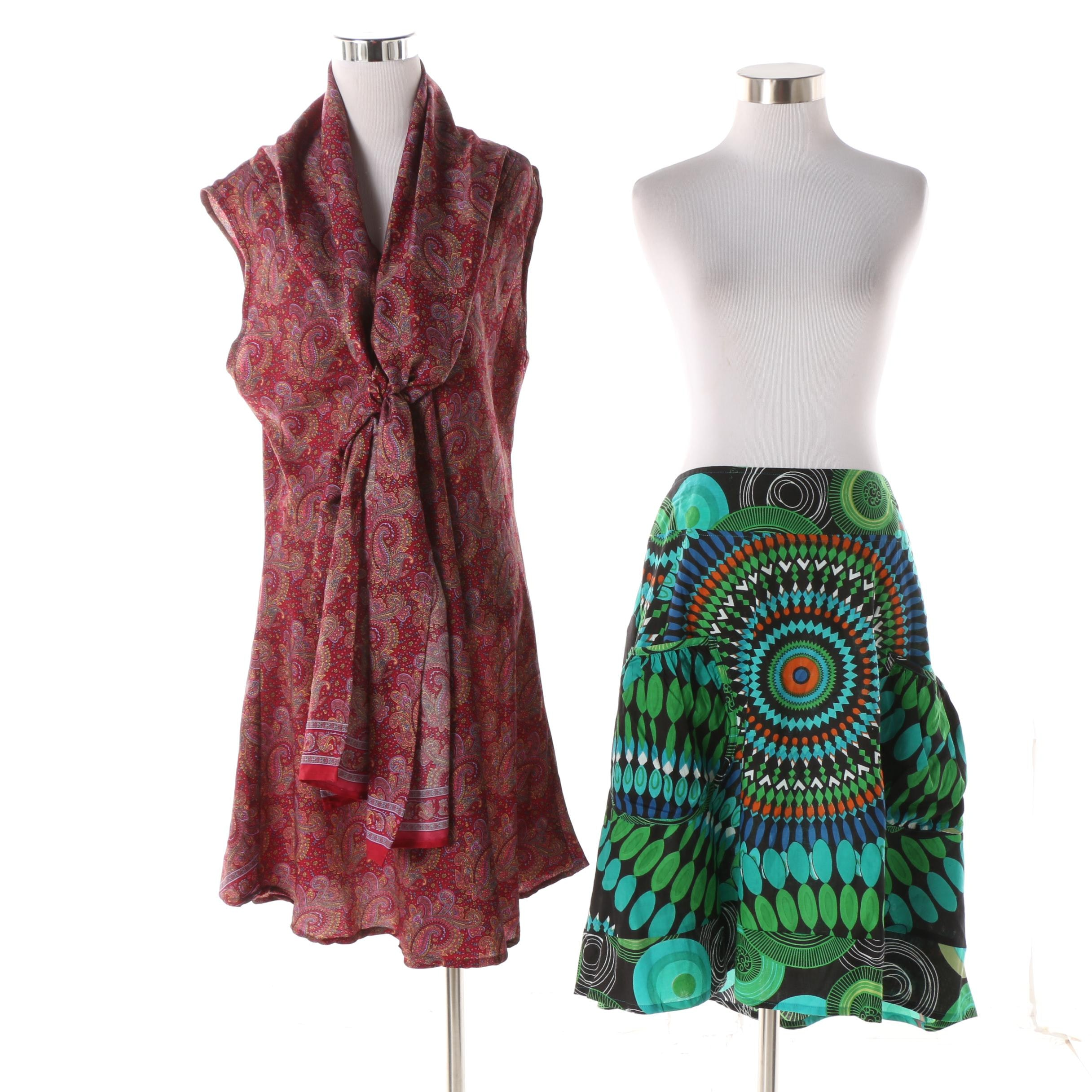 Aller Simplement Paisley Tie Neck Tunic with Abstract Print Skirt