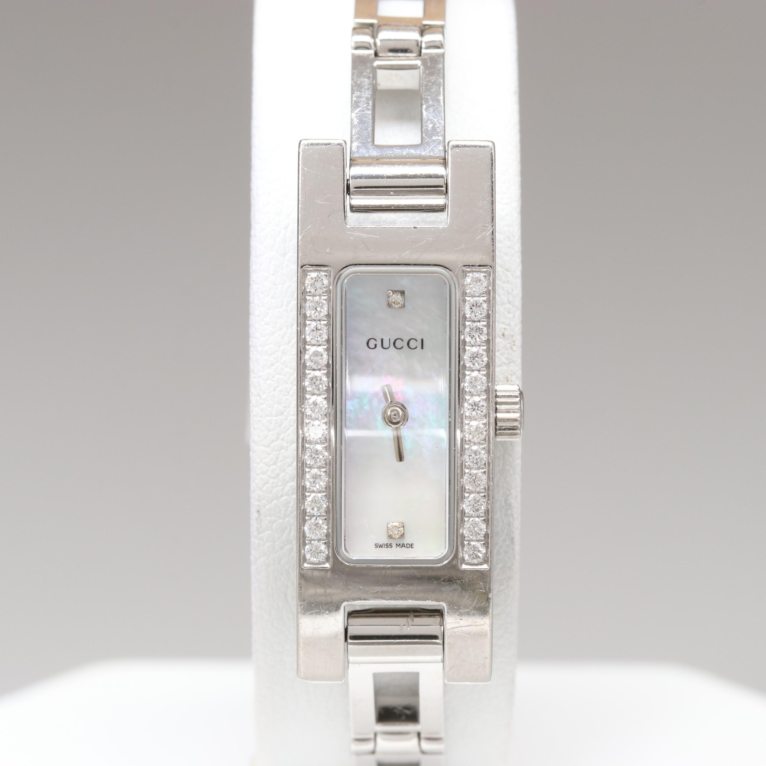 Gucci Stainless Steel Diamond and Mother of Pearl Wristwatch