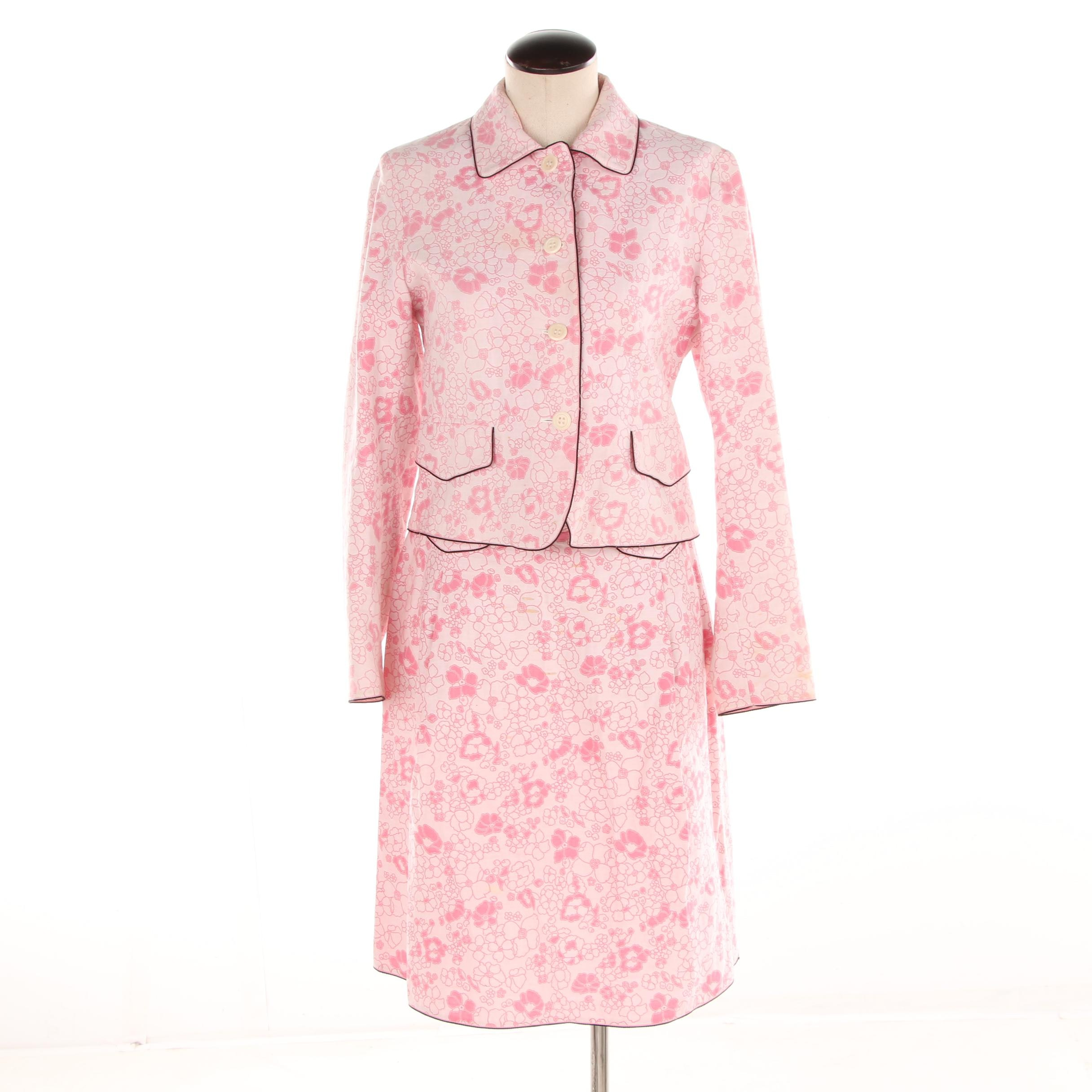 Women's Weekend Max Mara Pink Floral Print Skirt Suit