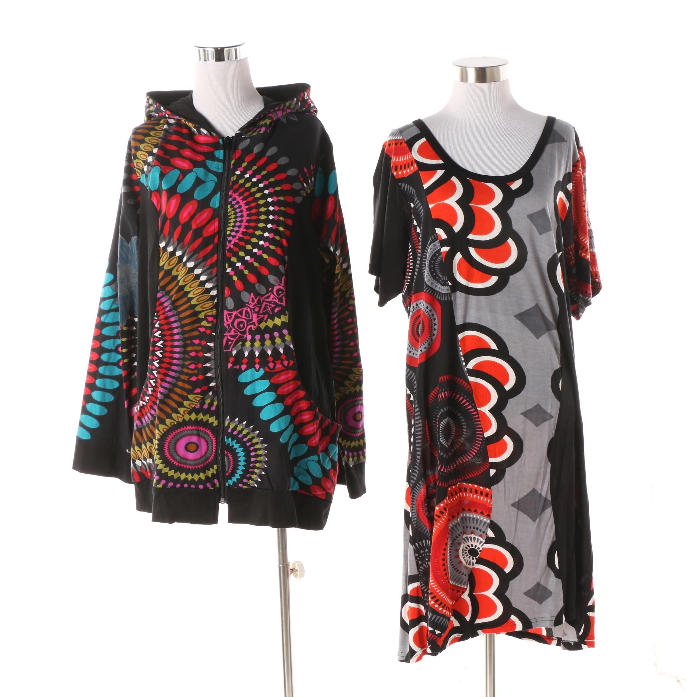 Aller Simplement Abstract Print Scoop Neck Tunic and Hoodie