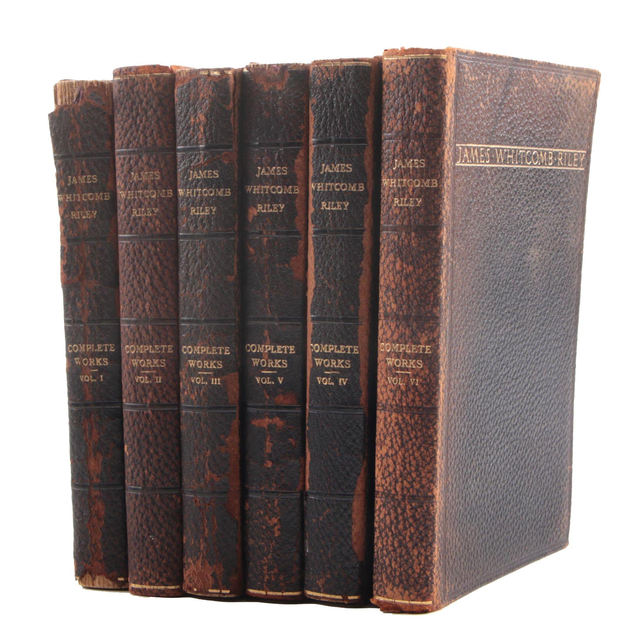 "1913 ""Complete Works of John Whitcomb Riley"" Six Volume Set"