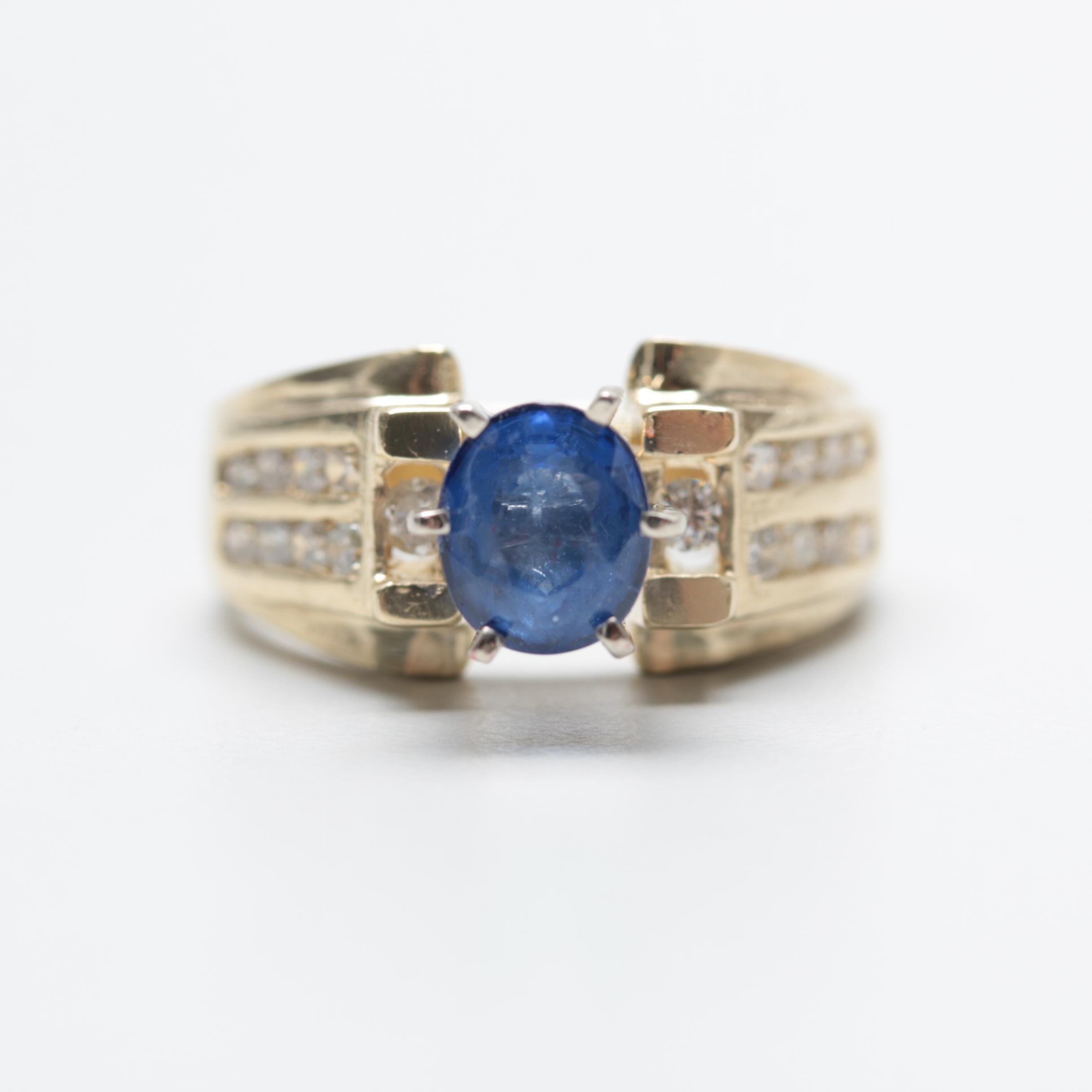 14K Yellow Gold 1.19 CT Blue Sapphire and Diamond Ring