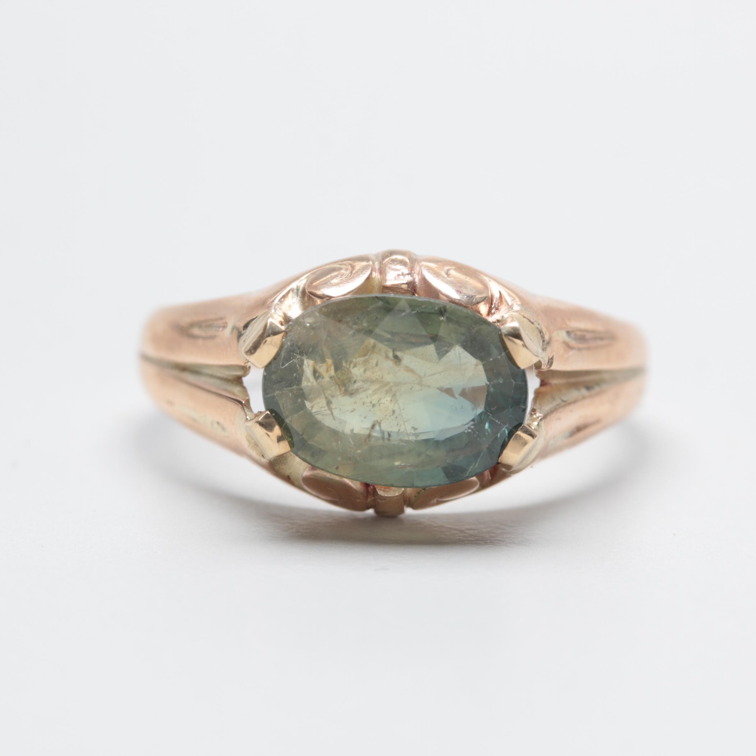Circa 1920s - 1930s Ostby & Barton 10K Yellow Gold Green Sapphire Ring