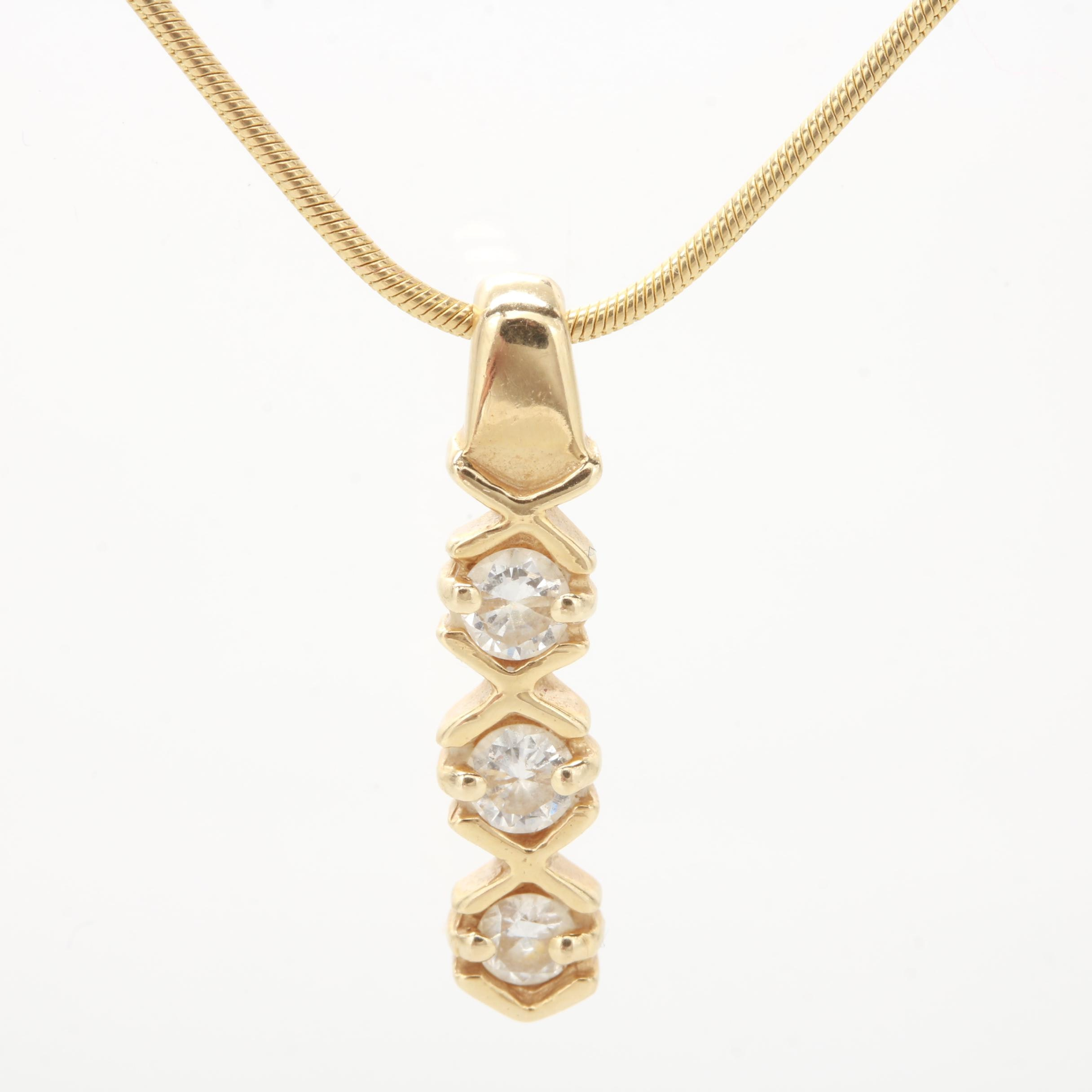 14K Yellow Gold Snake Chain Diamond Pendant Necklace