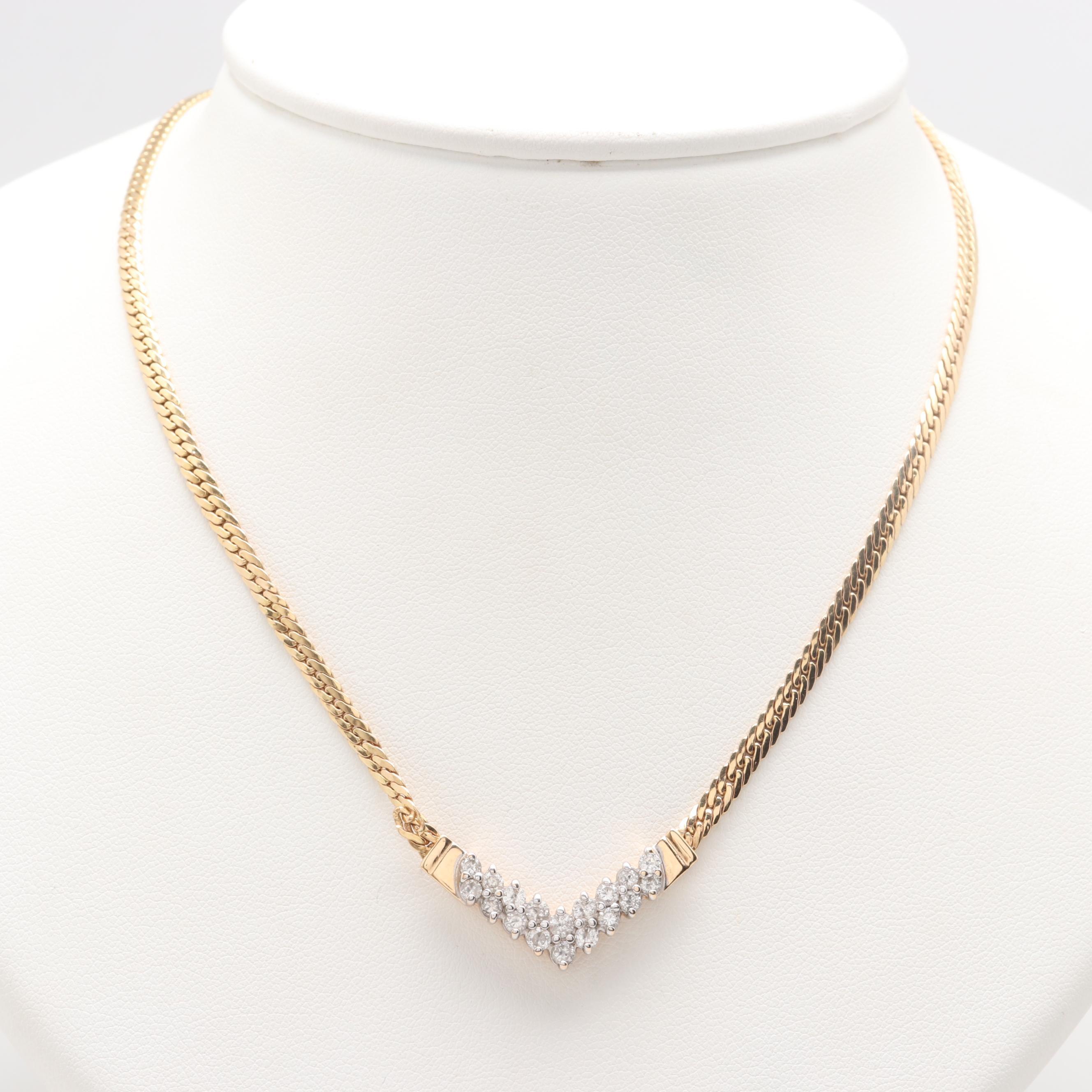 14K Yellow Gold 0.90 CTW Diamond Chevron Necklace