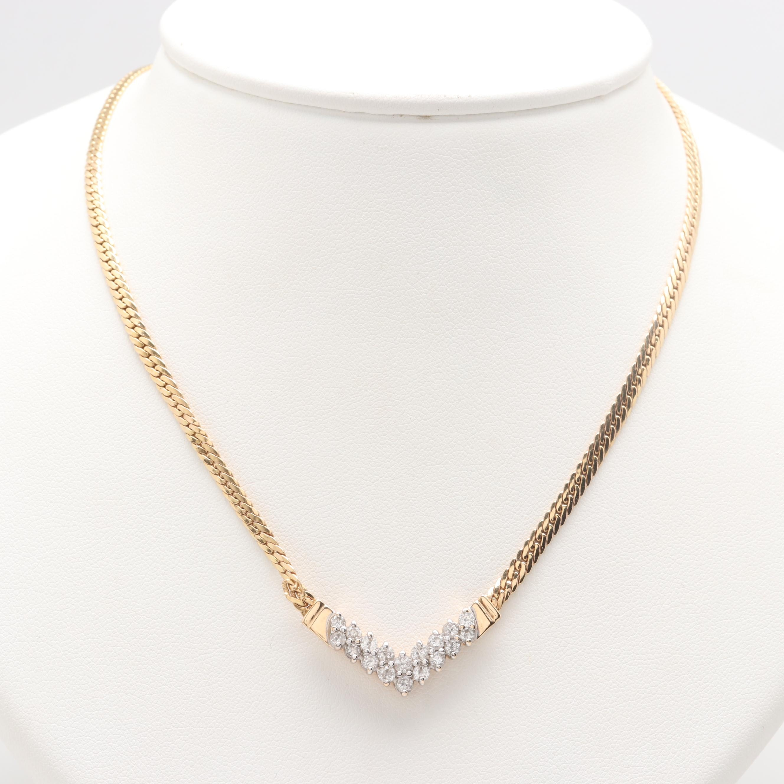 14K Yellow Gold 0.90 CTW Diamond Chevron Necklace